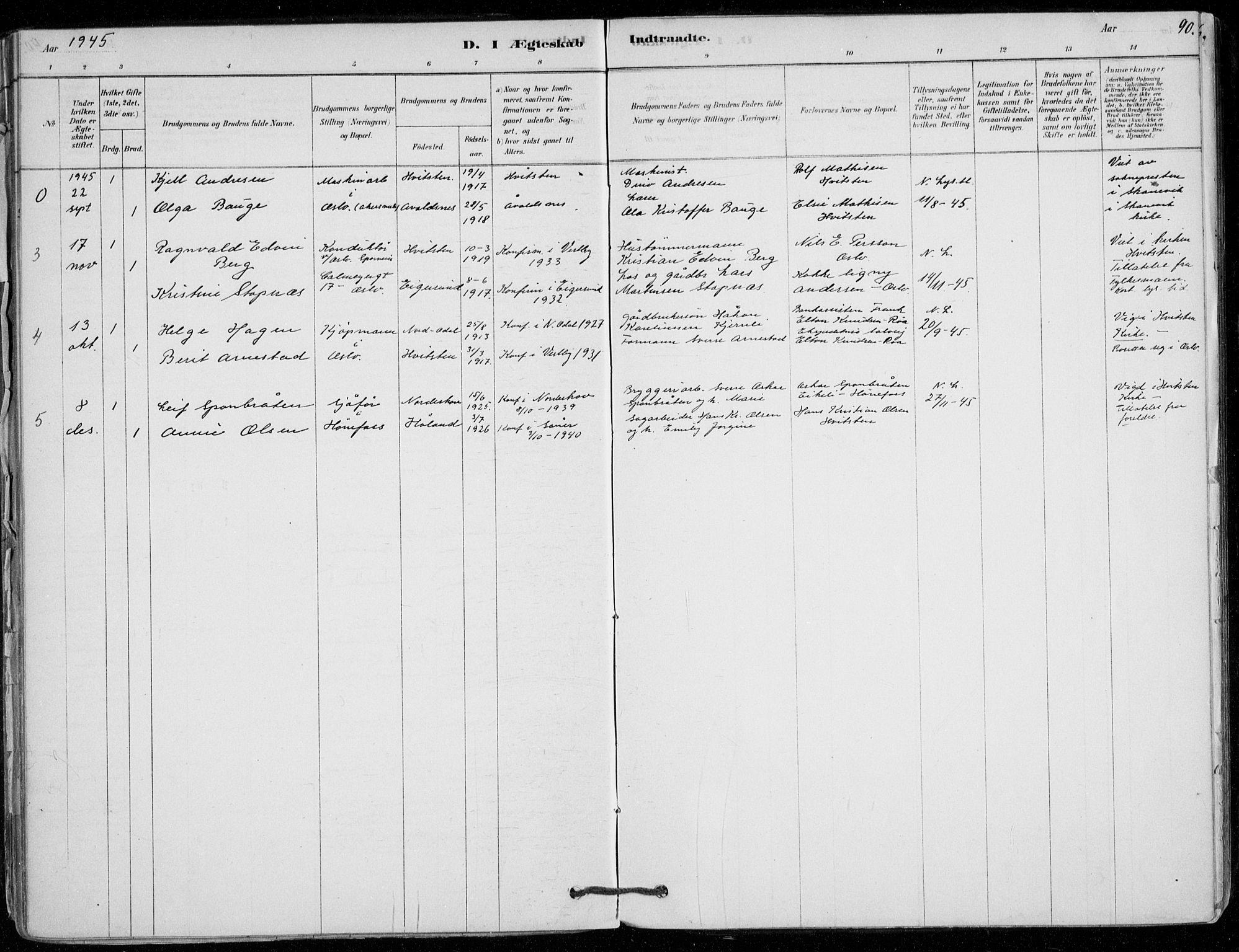 SAO, Vestby prestekontor Kirkebøker, F/Fd/L0001: Ministerialbok nr. IV 1, 1878-1945, s. 90