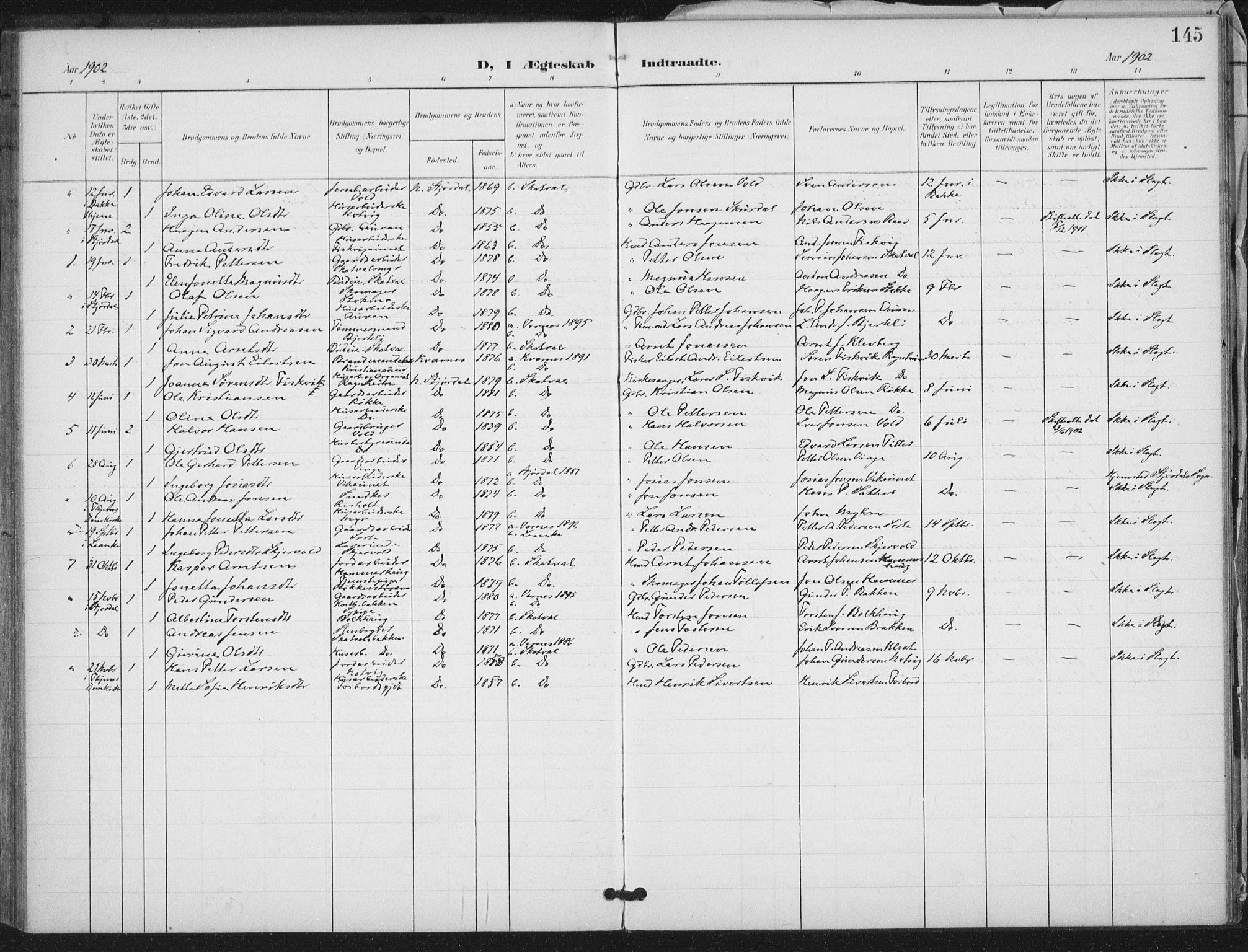 SAT, Ministerialprotokoller, klokkerbøker og fødselsregistre - Nord-Trøndelag, 712/L0101: Ministerialbok nr. 712A02, 1901-1916, s. 145