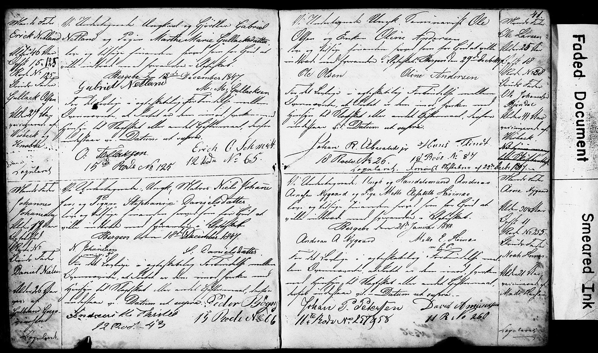 SAB, Domkirken Sokneprestembete, Forlovererklæringer nr. II.5.4, 1845-1852, s. 41