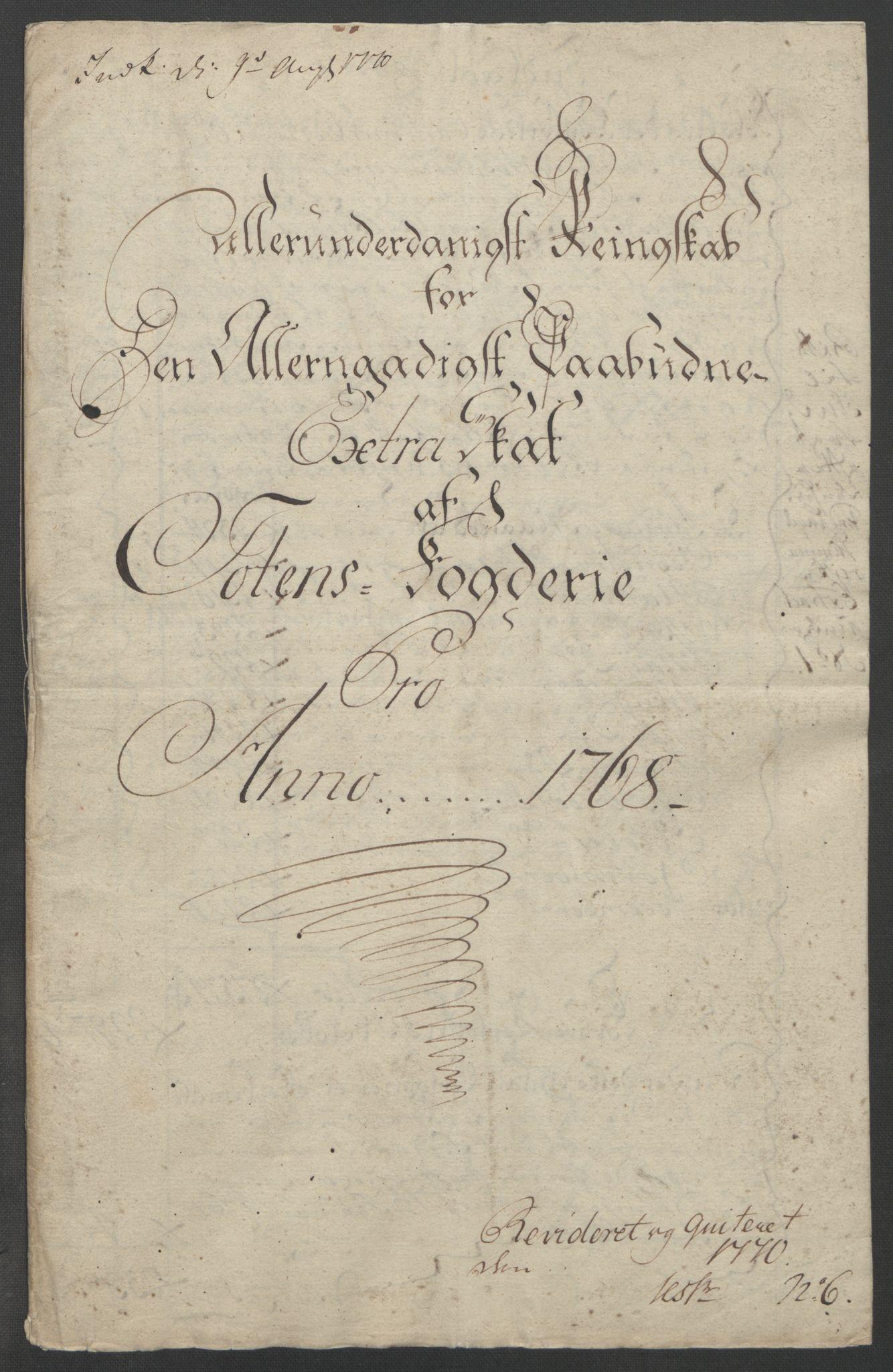 RA, Rentekammeret inntil 1814, Reviderte regnskaper, Fogderegnskap, R19/L1399: Fogderegnskap Toten, Hadeland og Vardal, 1762-1783, s. 156