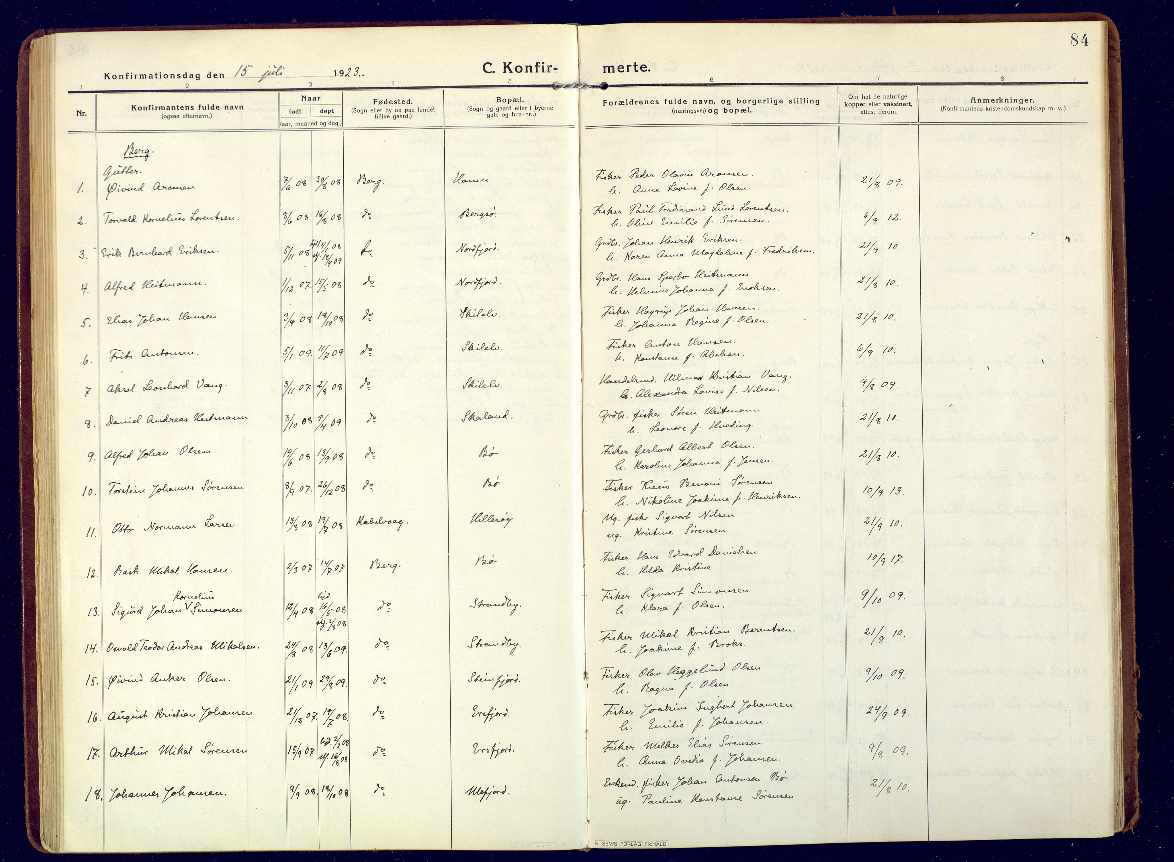 SATØ, Mefjord/Berg sokneprestkontor, G/Ga/Gaa: Ministerialbok nr. 9, 1916-1928, s. 84