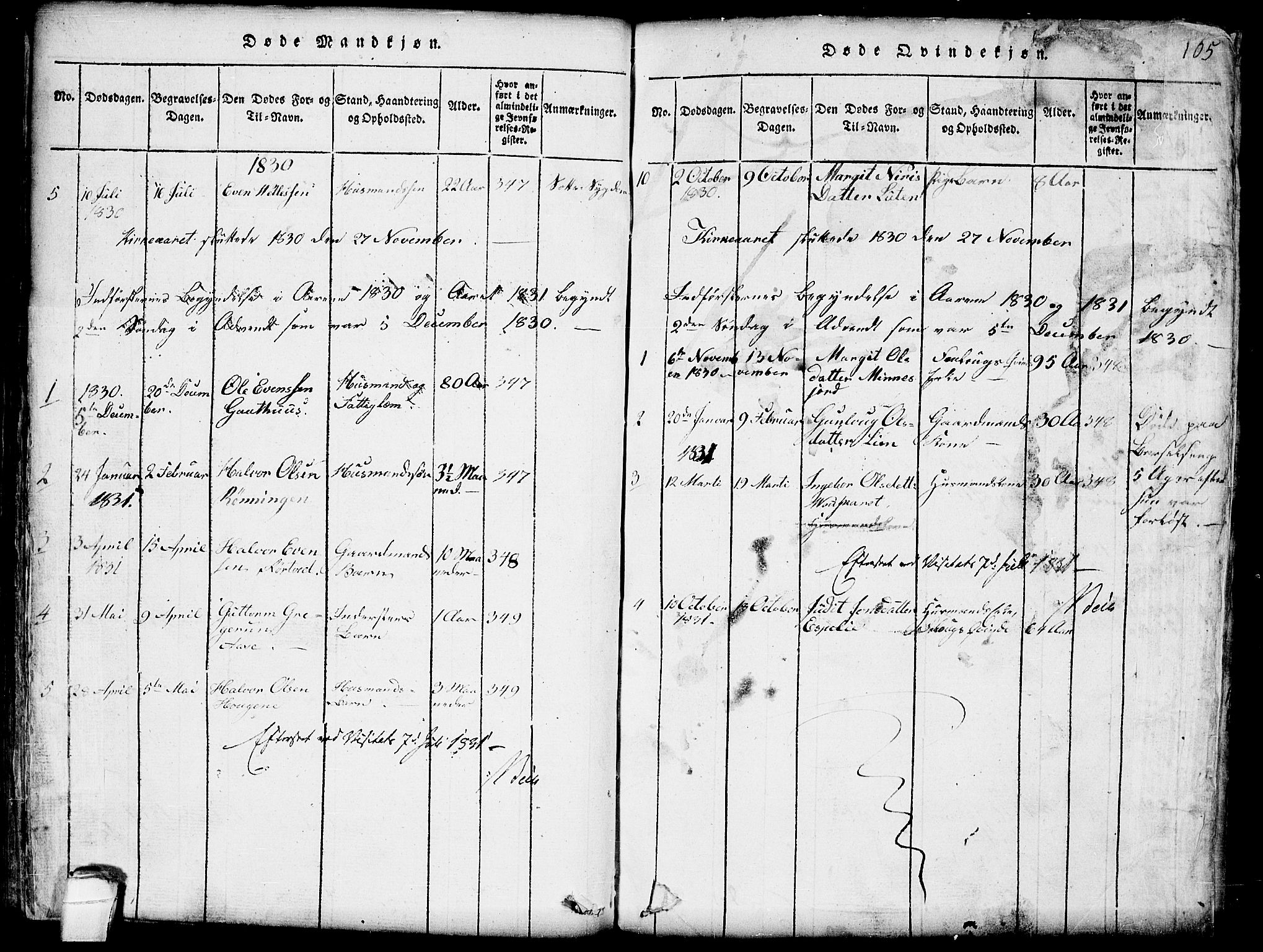 SAKO, Seljord kirkebøker, G/Gb/L0002: Klokkerbok nr. II 2, 1815-1854, s. 105