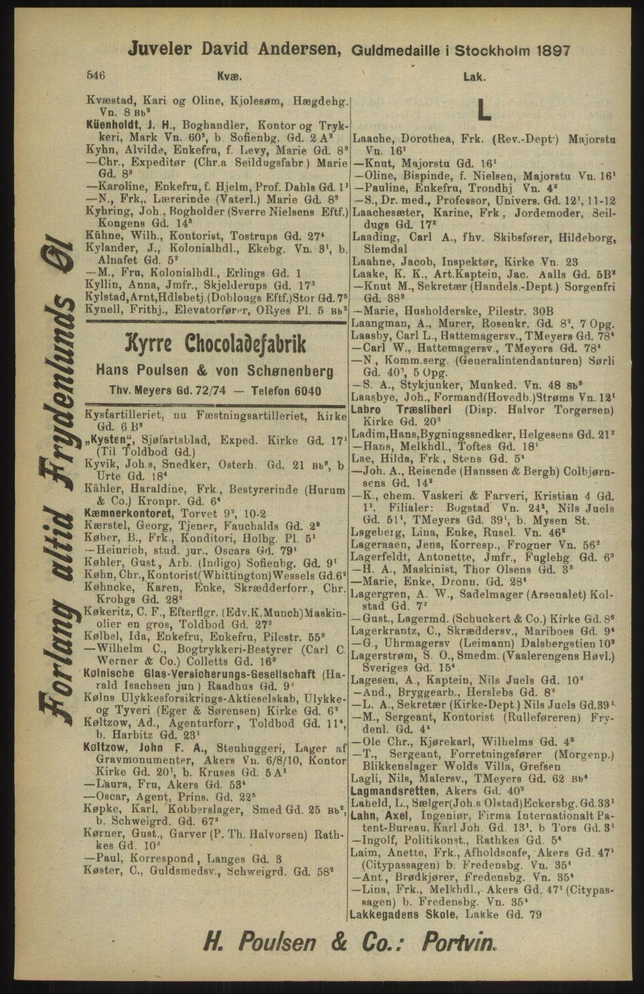 RA, Kristiania adressebok (publikasjon)*, 1904, s. 548