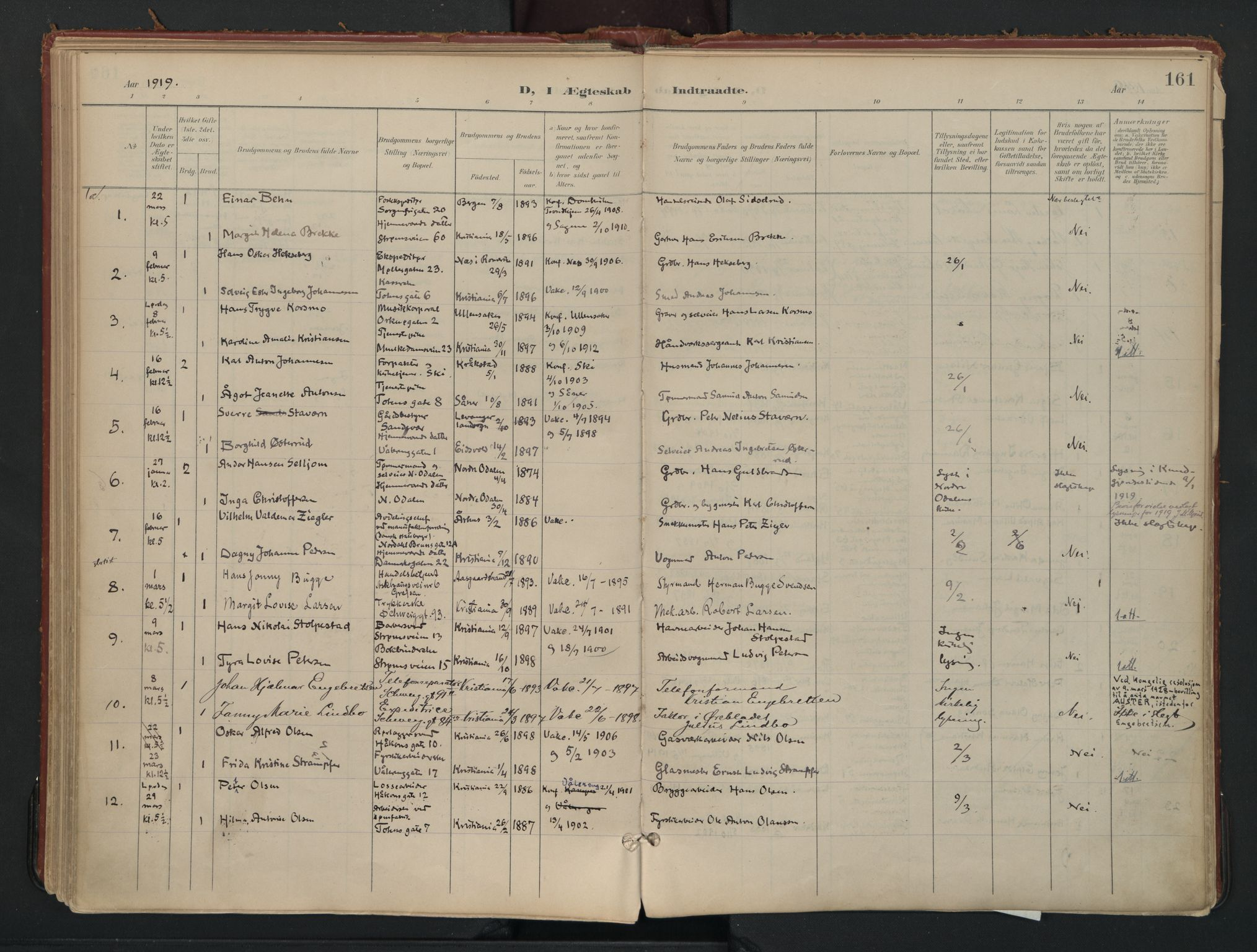 SAO, Vålerengen prestekontor Kirkebøker, F/Fa/L0002: Ministerialbok nr. 2, 1899-1924, s. 161