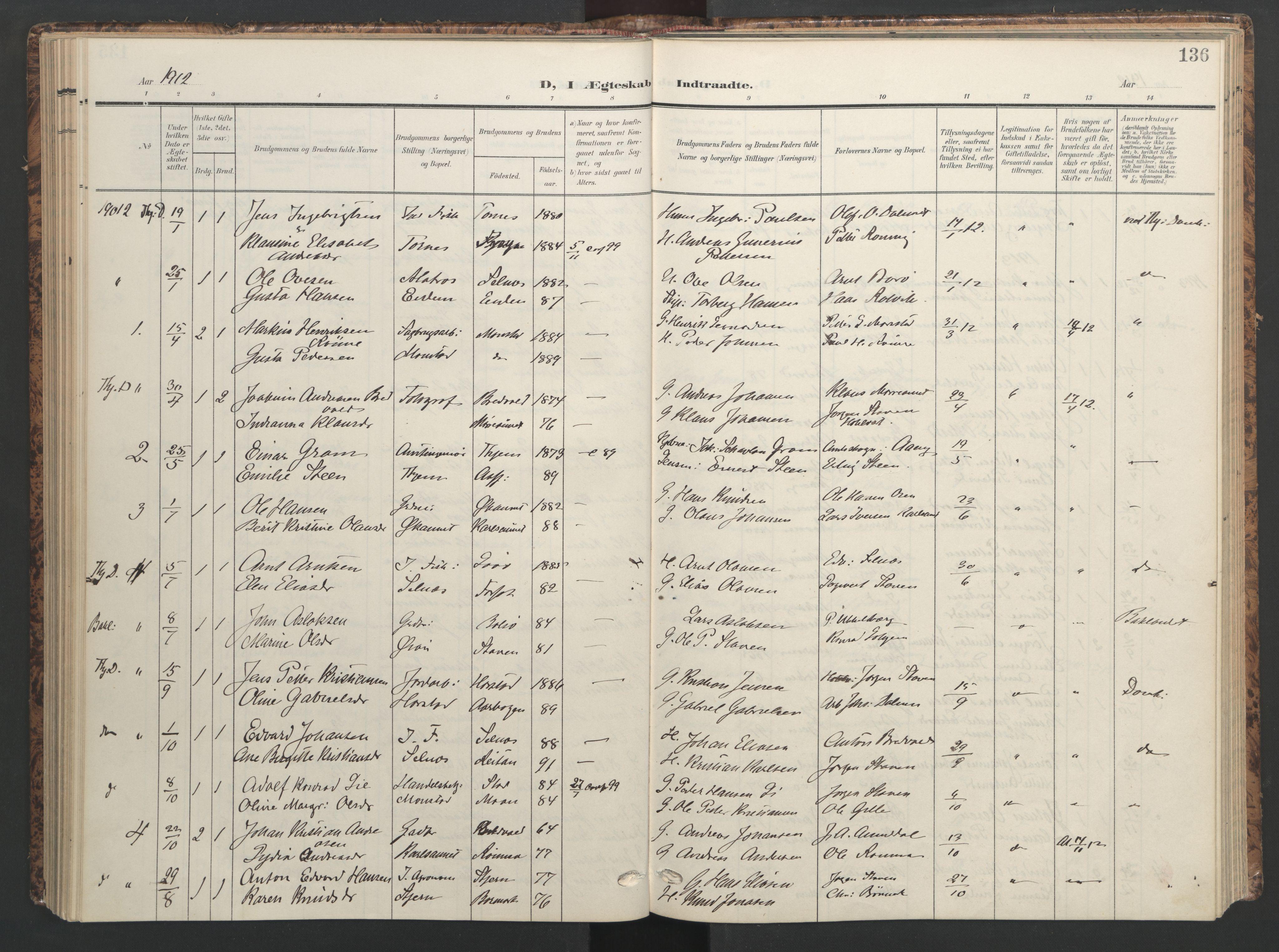 SAT, Ministerialprotokoller, klokkerbøker og fødselsregistre - Sør-Trøndelag, 655/L0682: Ministerialbok nr. 655A11, 1908-1922, s. 136
