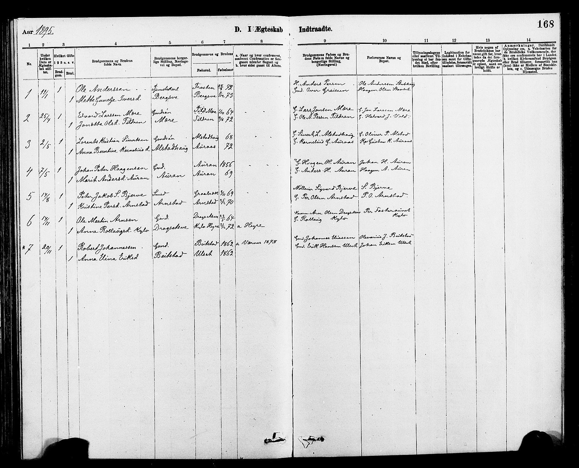 SAT, Ministerialprotokoller, klokkerbøker og fødselsregistre - Nord-Trøndelag, 712/L0103: Klokkerbok nr. 712C01, 1878-1917, s. 168