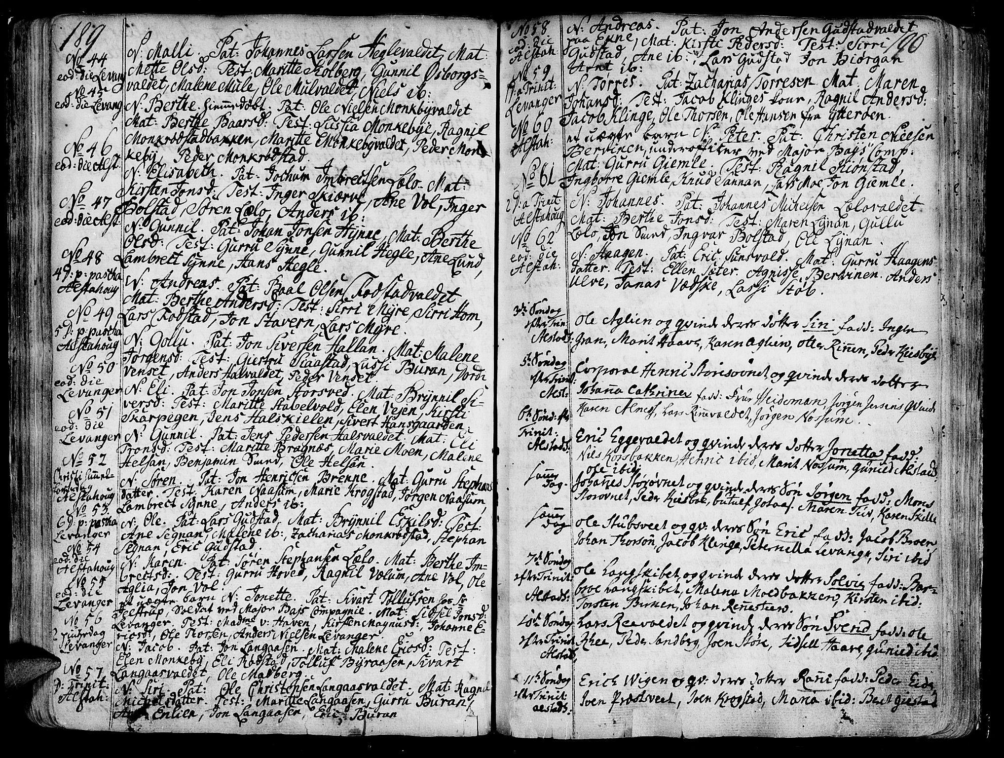 SAT, Ministerialprotokoller, klokkerbøker og fødselsregistre - Nord-Trøndelag, 717/L0141: Ministerialbok nr. 717A01, 1747-1803, s. 189-190
