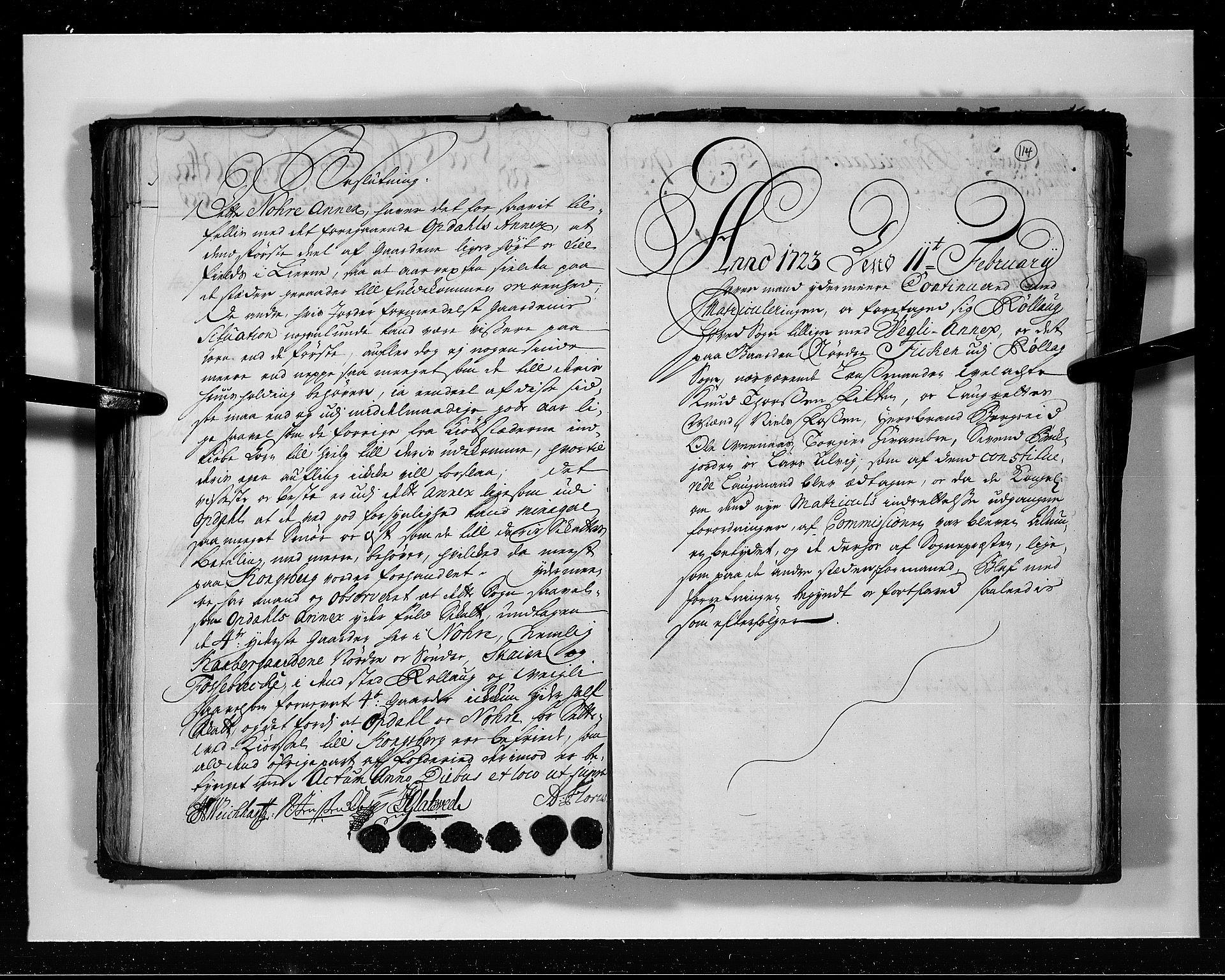 RA, Rentekammeret inntil 1814, Realistisk ordnet avdeling, N/Nb/Nbf/L0113: Numedal og Sandsvær eksaminasjonsprotokoll, 1723, s. 113b-114a