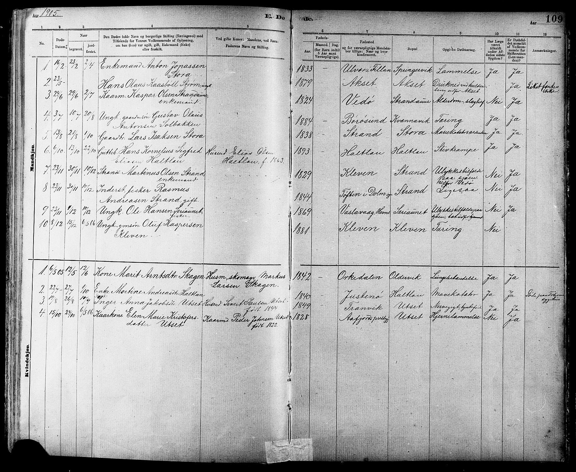 SAT, Ministerialprotokoller, klokkerbøker og fødselsregistre - Sør-Trøndelag, 639/L0573: Klokkerbok nr. 639C01, 1890-1905, s. 109