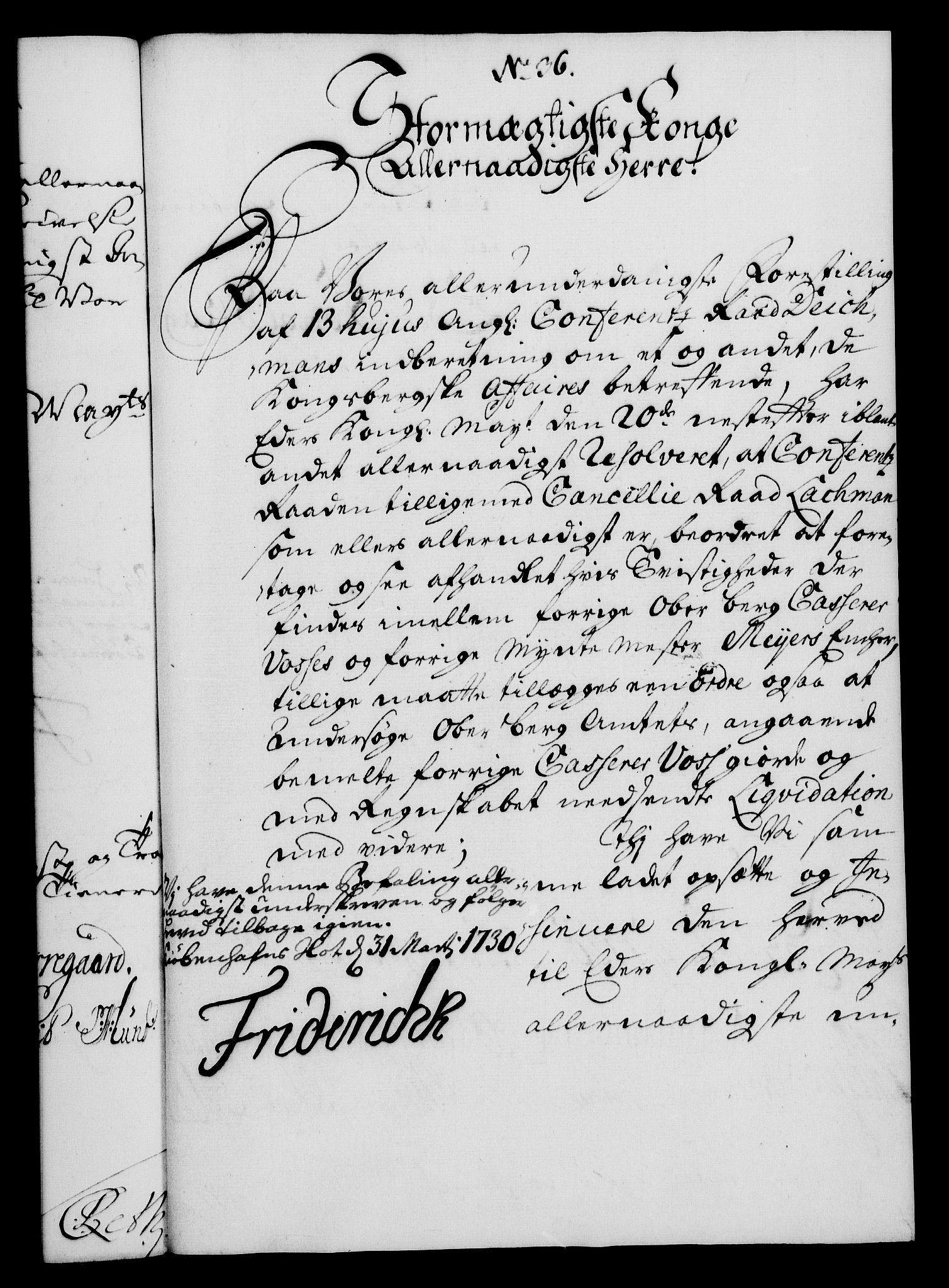 RA, Rentekammeret, Kammerkanselliet, G/Gf/Gfa/L0013: Norsk relasjons- og resolusjonsprotokoll (merket RK 52.13), 1730, s. 238