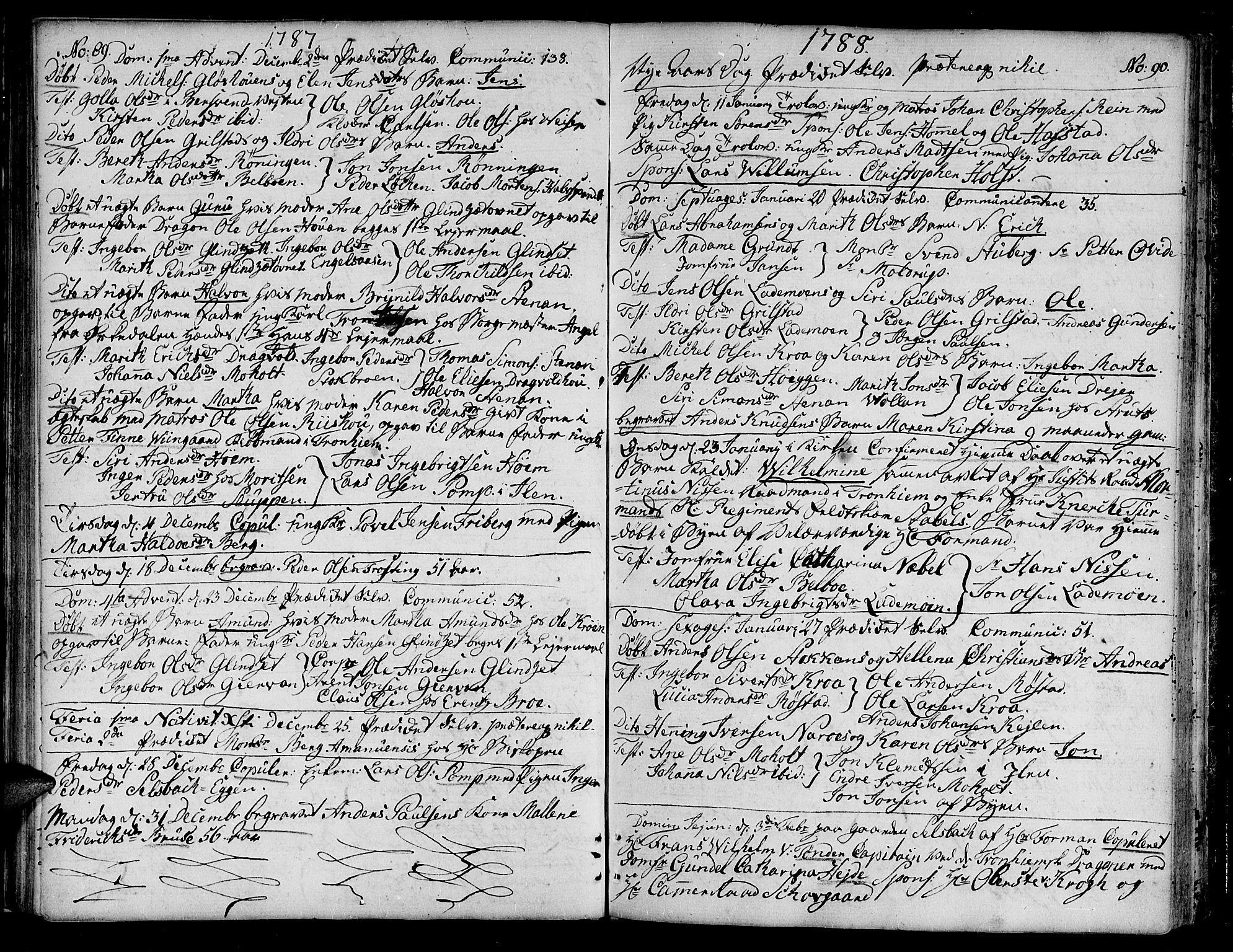 SAT, Ministerialprotokoller, klokkerbøker og fødselsregistre - Sør-Trøndelag, 604/L0180: Ministerialbok nr. 604A01, 1780-1797, s. 89-90