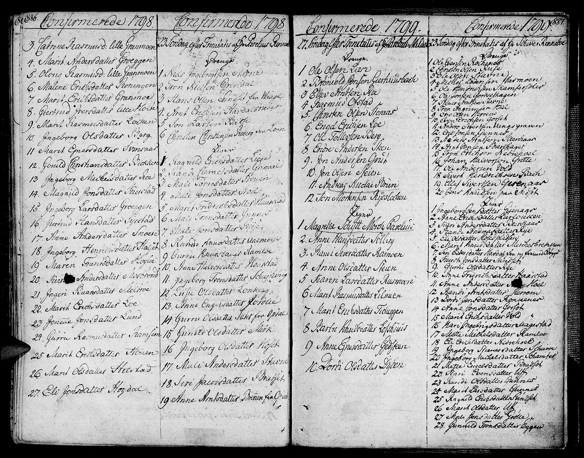 SAT, Ministerialprotokoller, klokkerbøker og fødselsregistre - Sør-Trøndelag, 672/L0852: Ministerialbok nr. 672A05, 1776-1815, s. 886-887