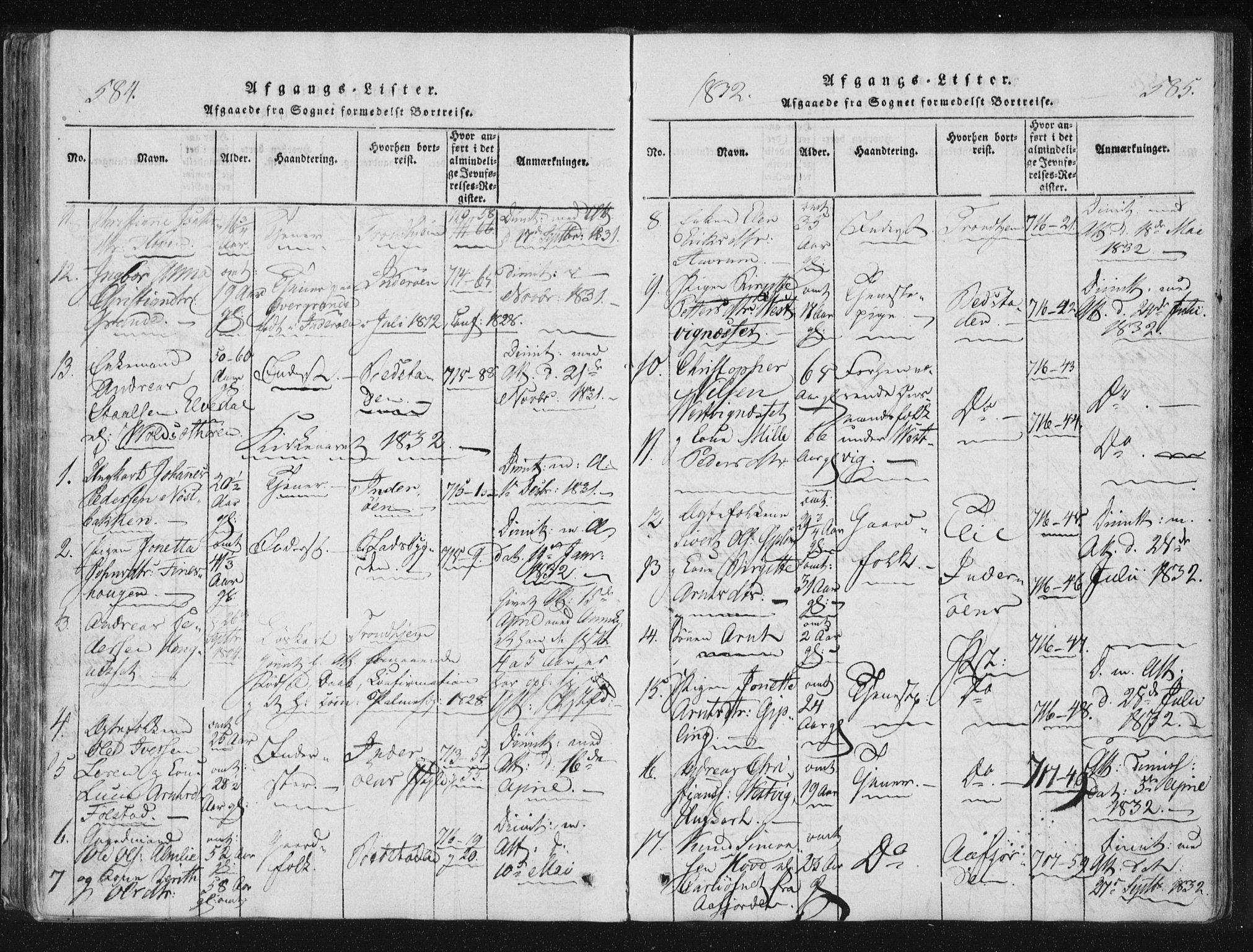 SAT, Ministerialprotokoller, klokkerbøker og fødselsregistre - Nord-Trøndelag, 744/L0417: Ministerialbok nr. 744A01, 1817-1842, s. 584-585
