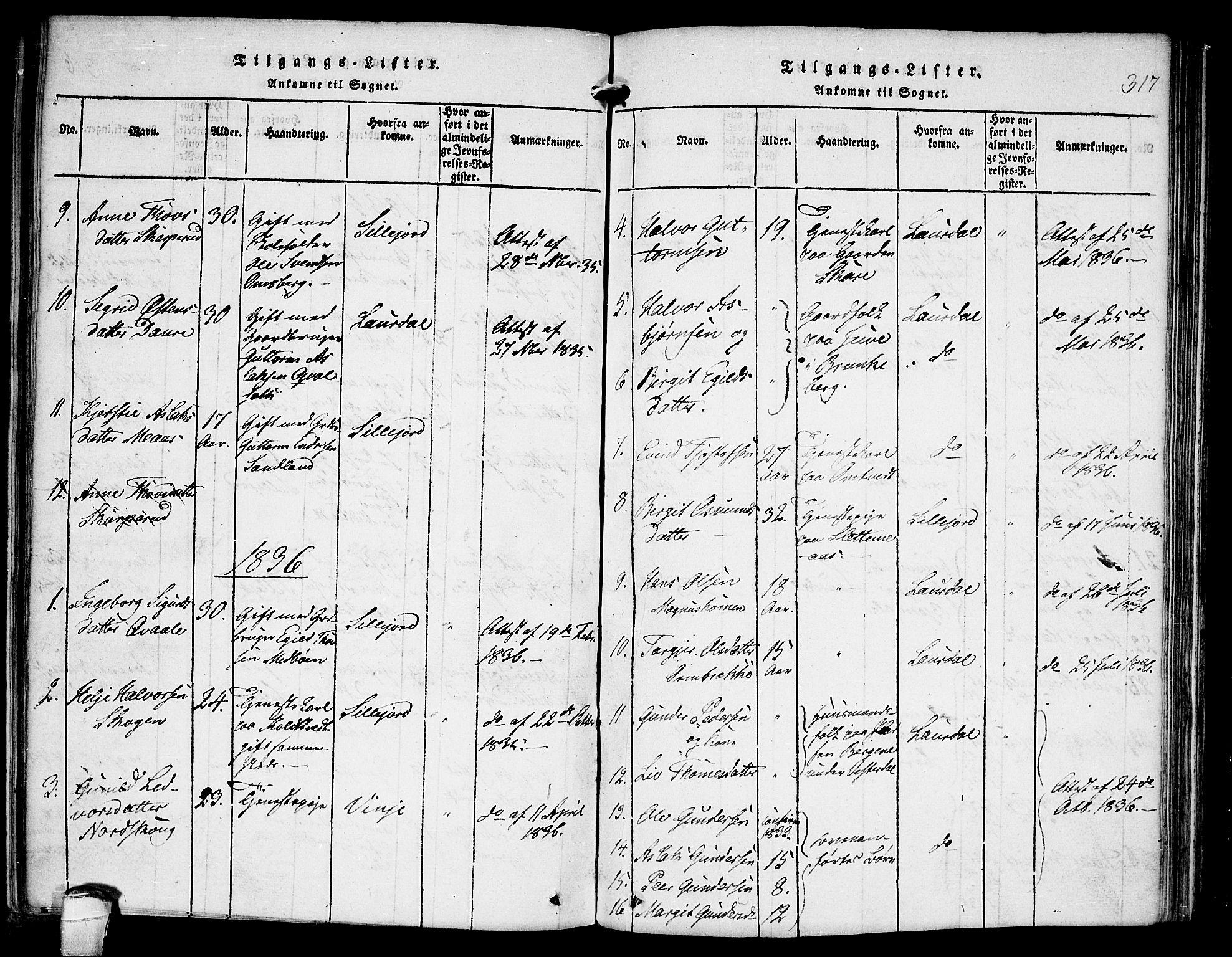 SAKO, Kviteseid kirkebøker, F/Fb/L0001: Ministerialbok nr. II 1, 1815-1836, s. 317