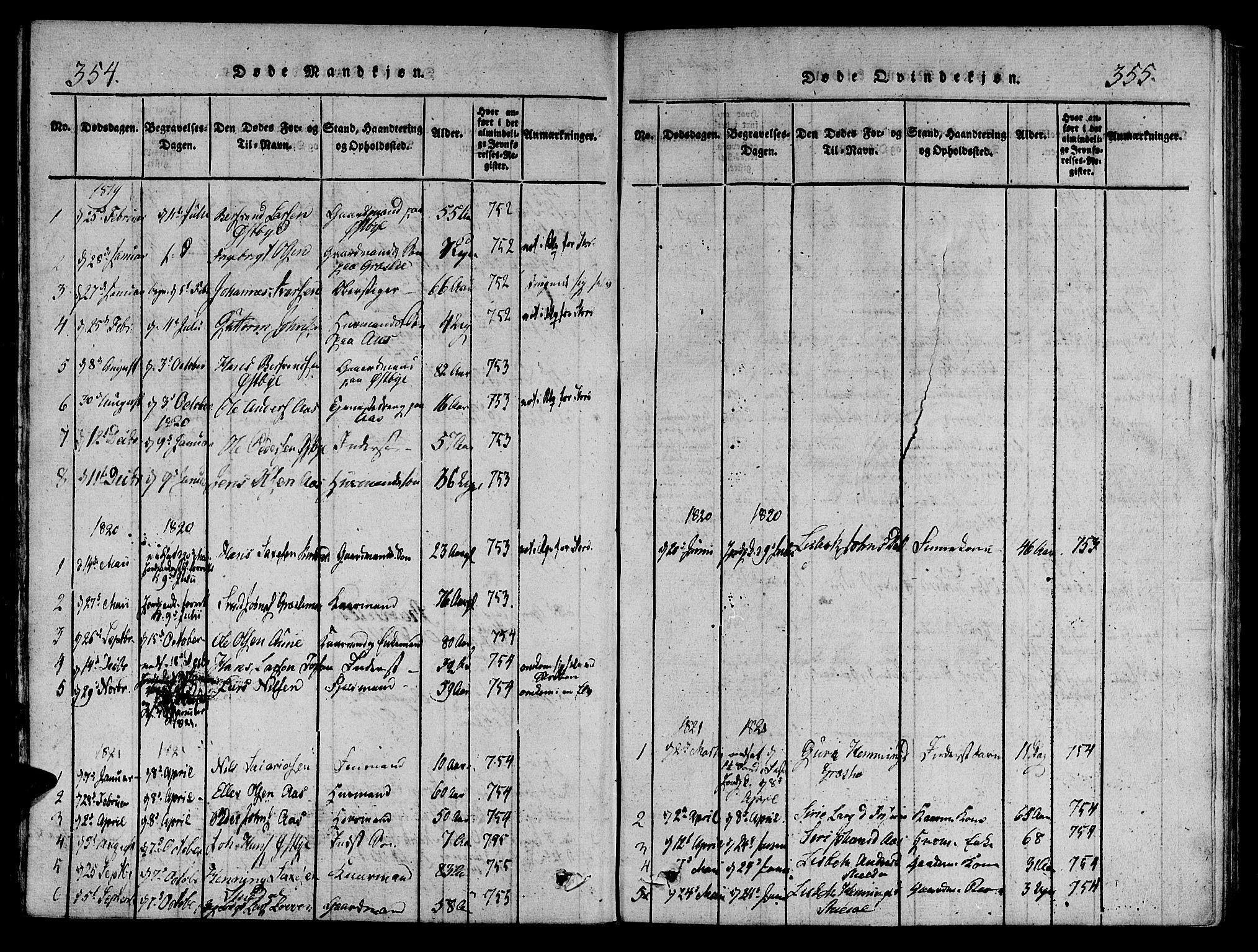 SAT, Ministerialprotokoller, klokkerbøker og fødselsregistre - Sør-Trøndelag, 695/L1142: Ministerialbok nr. 695A04 /2, 1816-1824, s. 354-355