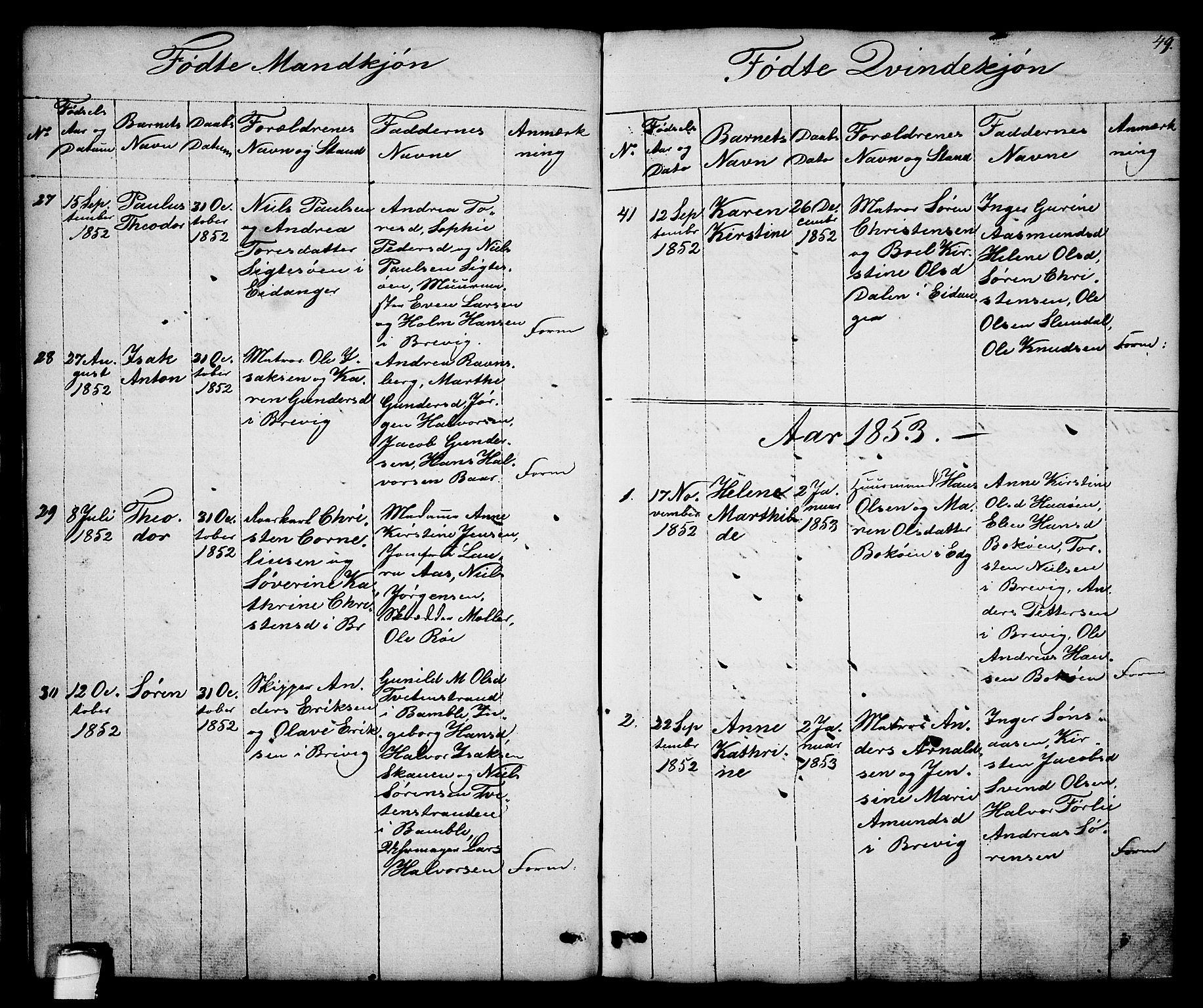 SAKO, Brevik kirkebøker, G/Ga/L0002: Klokkerbok nr. 2, 1846-1865, s. 49