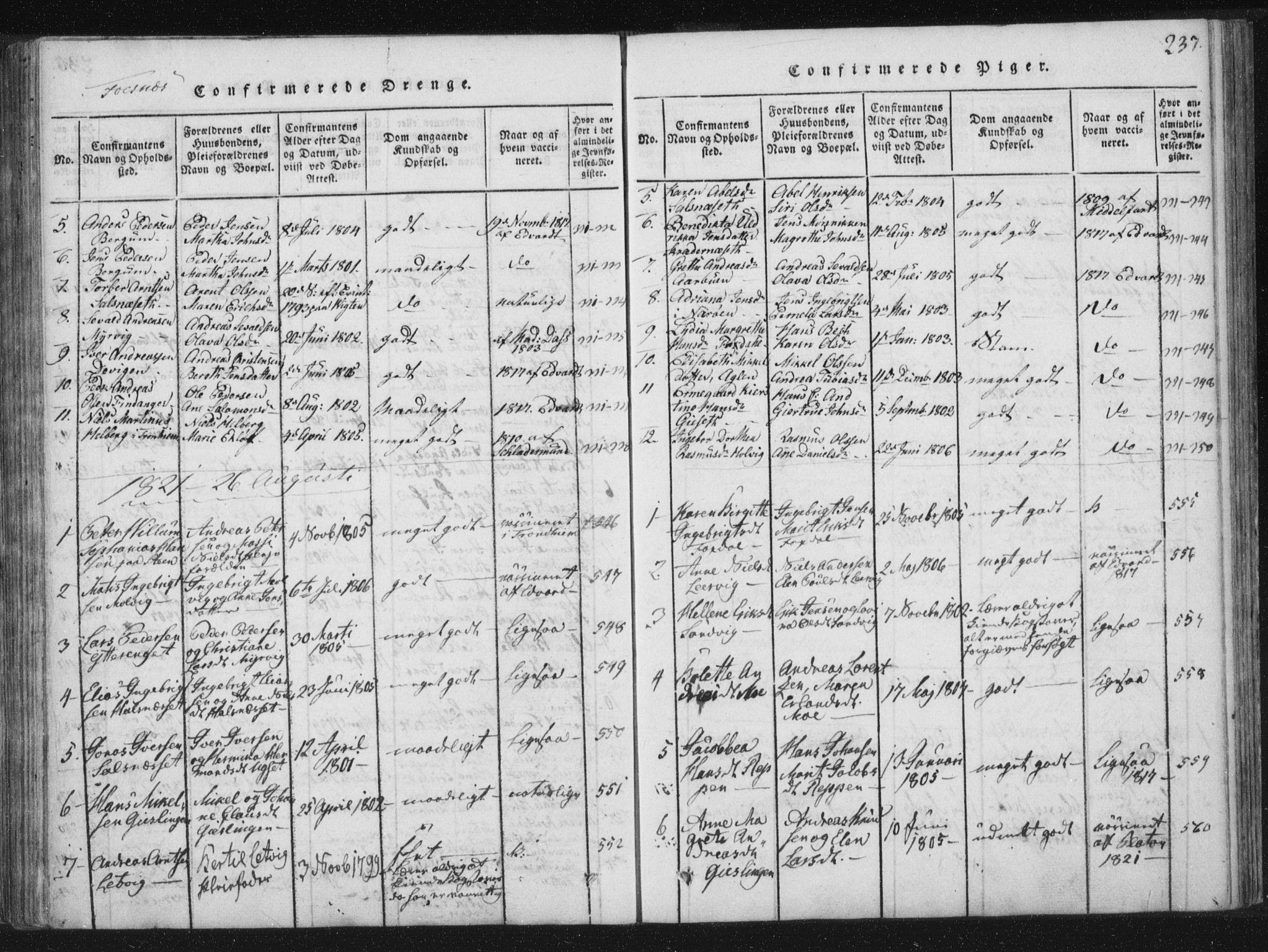 SAT, Ministerialprotokoller, klokkerbøker og fødselsregistre - Nord-Trøndelag, 773/L0609: Ministerialbok nr. 773A03 /1, 1815-1830, s. 237