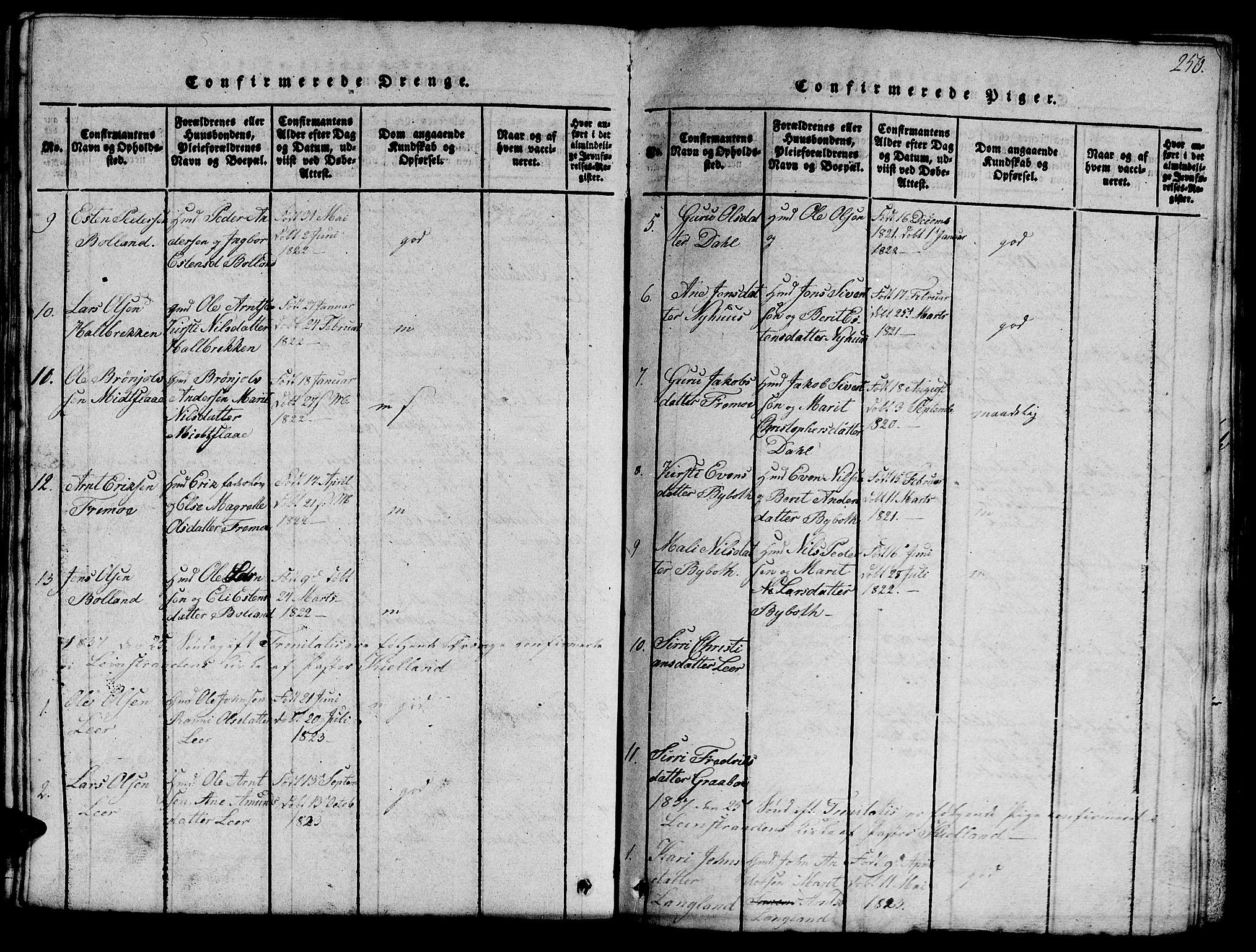 SAT, Ministerialprotokoller, klokkerbøker og fødselsregistre - Sør-Trøndelag, 693/L1121: Klokkerbok nr. 693C02, 1816-1869, s. 250