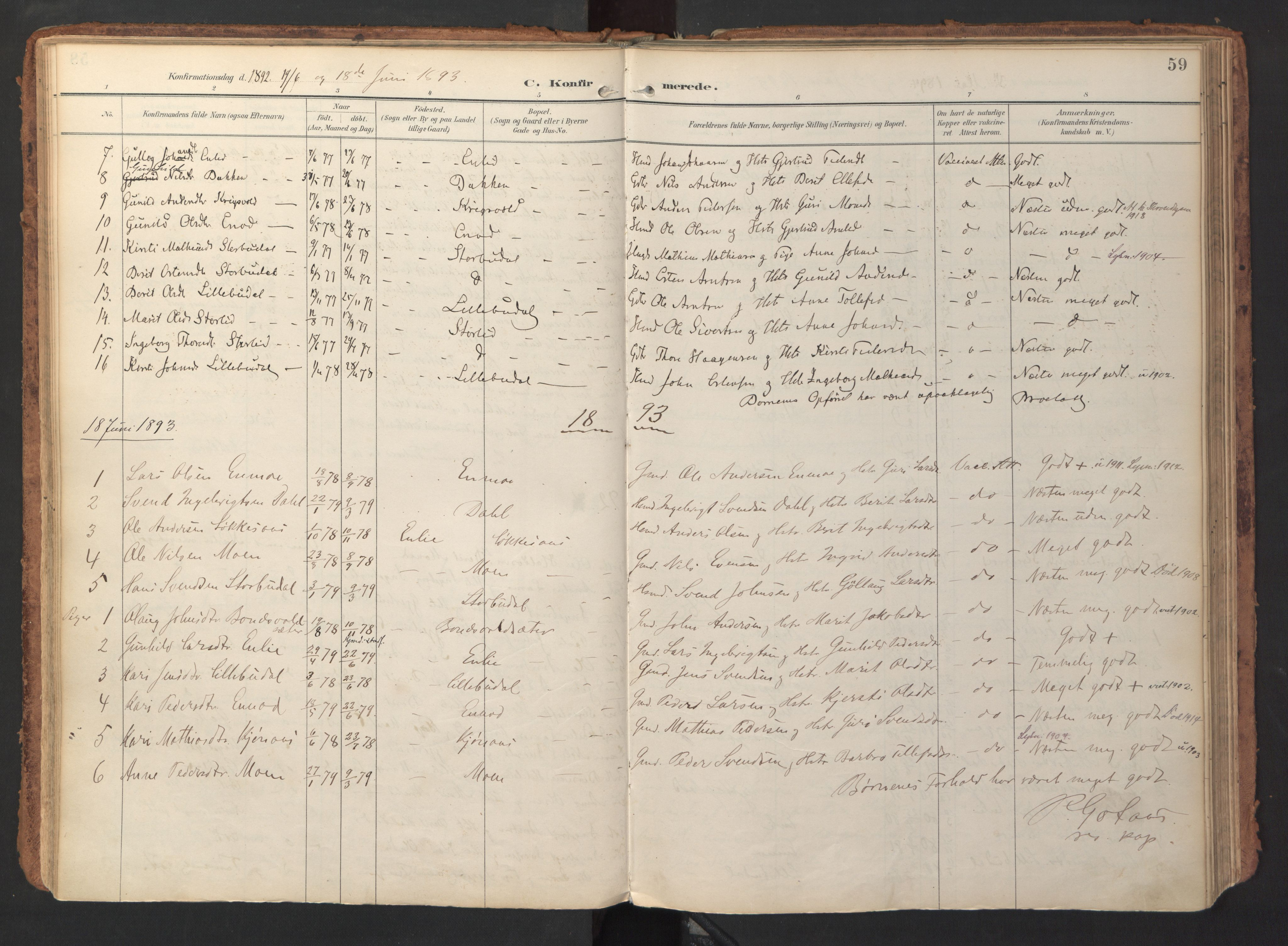 SAT, Ministerialprotokoller, klokkerbøker og fødselsregistre - Sør-Trøndelag, 690/L1050: Ministerialbok nr. 690A01, 1889-1929, s. 59