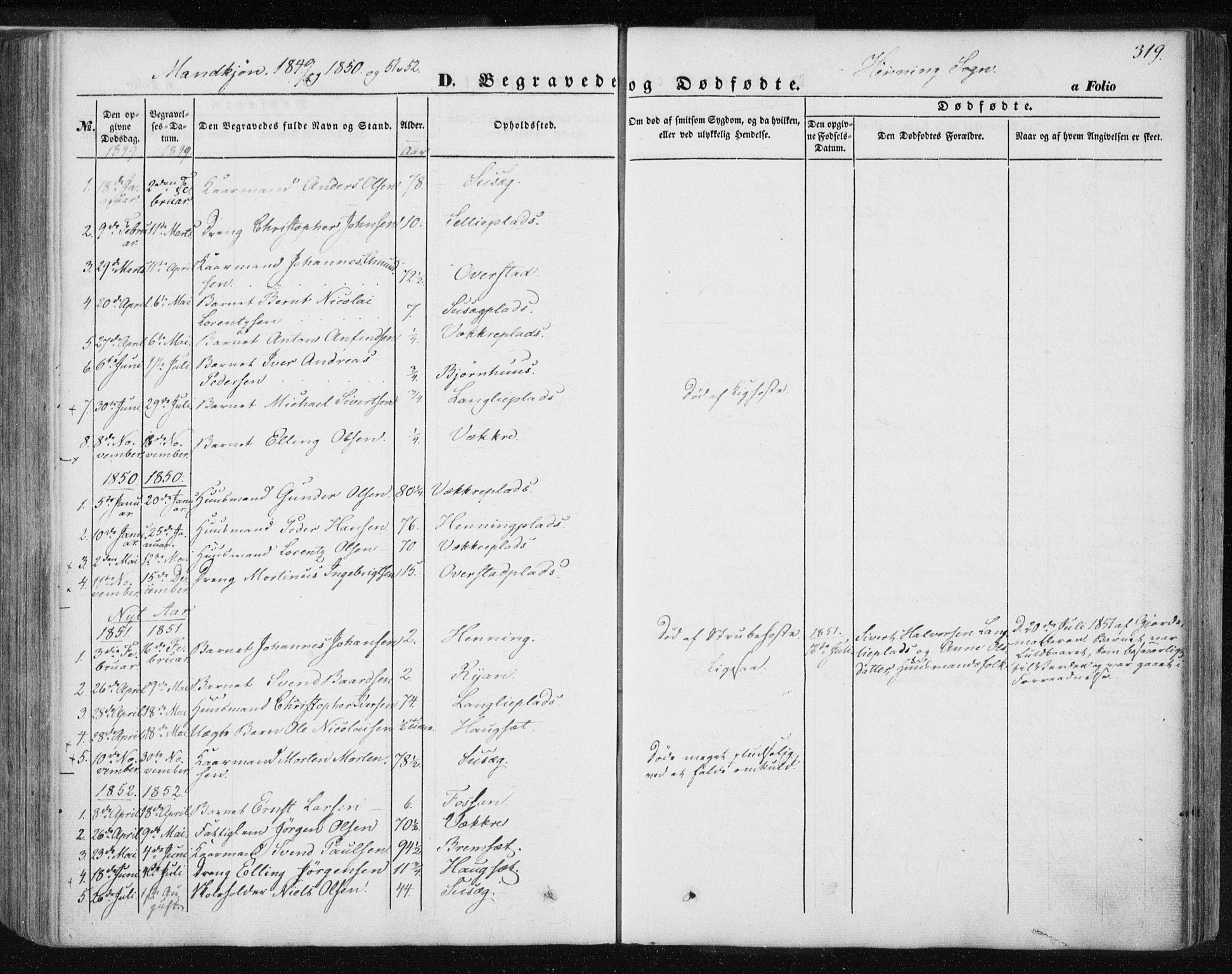 SAT, Ministerialprotokoller, klokkerbøker og fødselsregistre - Nord-Trøndelag, 735/L0342: Ministerialbok nr. 735A07 /3, 1849-1862, s. 319