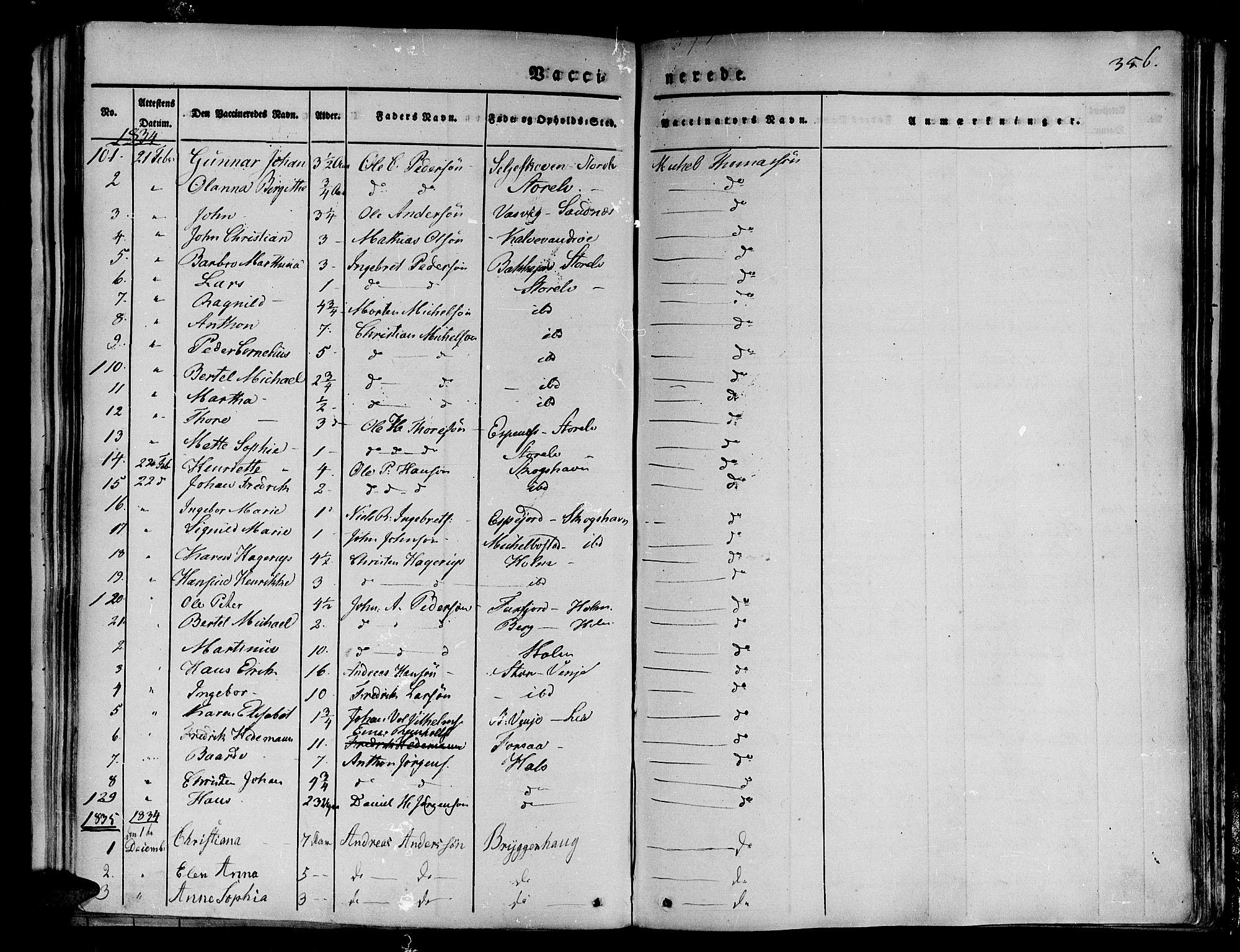 SATØ, Tranøy sokneprestkontor, I/Ia/Iaa/L0005kirke: Ministerialbok nr. 5, 1829-1844, s. 356