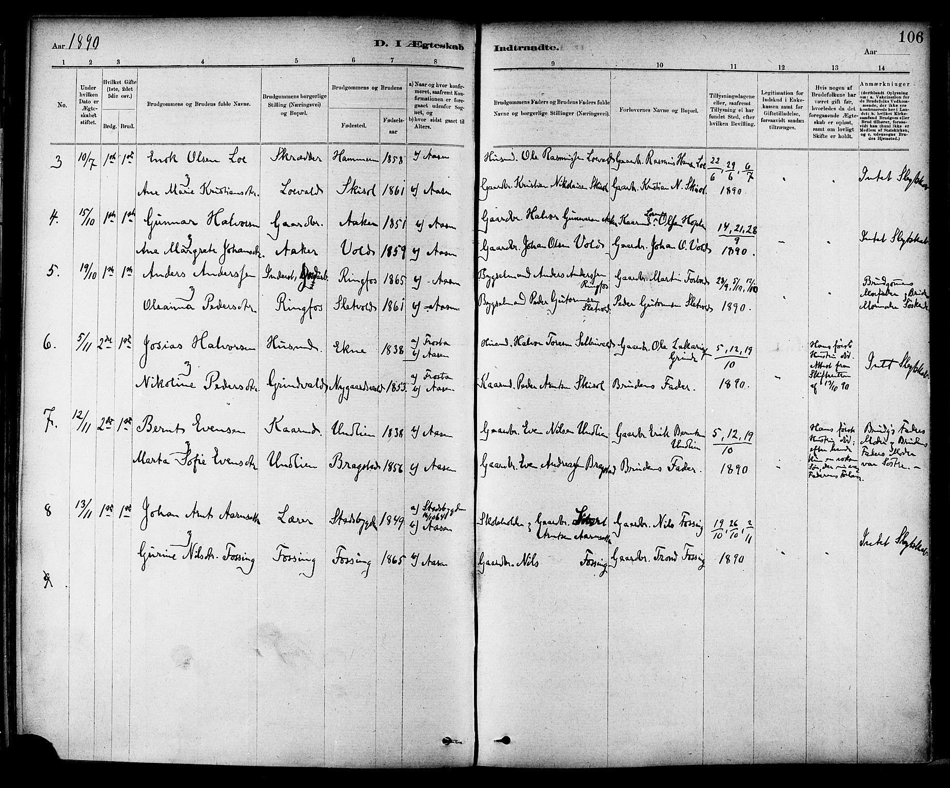 SAT, Ministerialprotokoller, klokkerbøker og fødselsregistre - Nord-Trøndelag, 714/L0130: Ministerialbok nr. 714A01, 1878-1895, s. 106