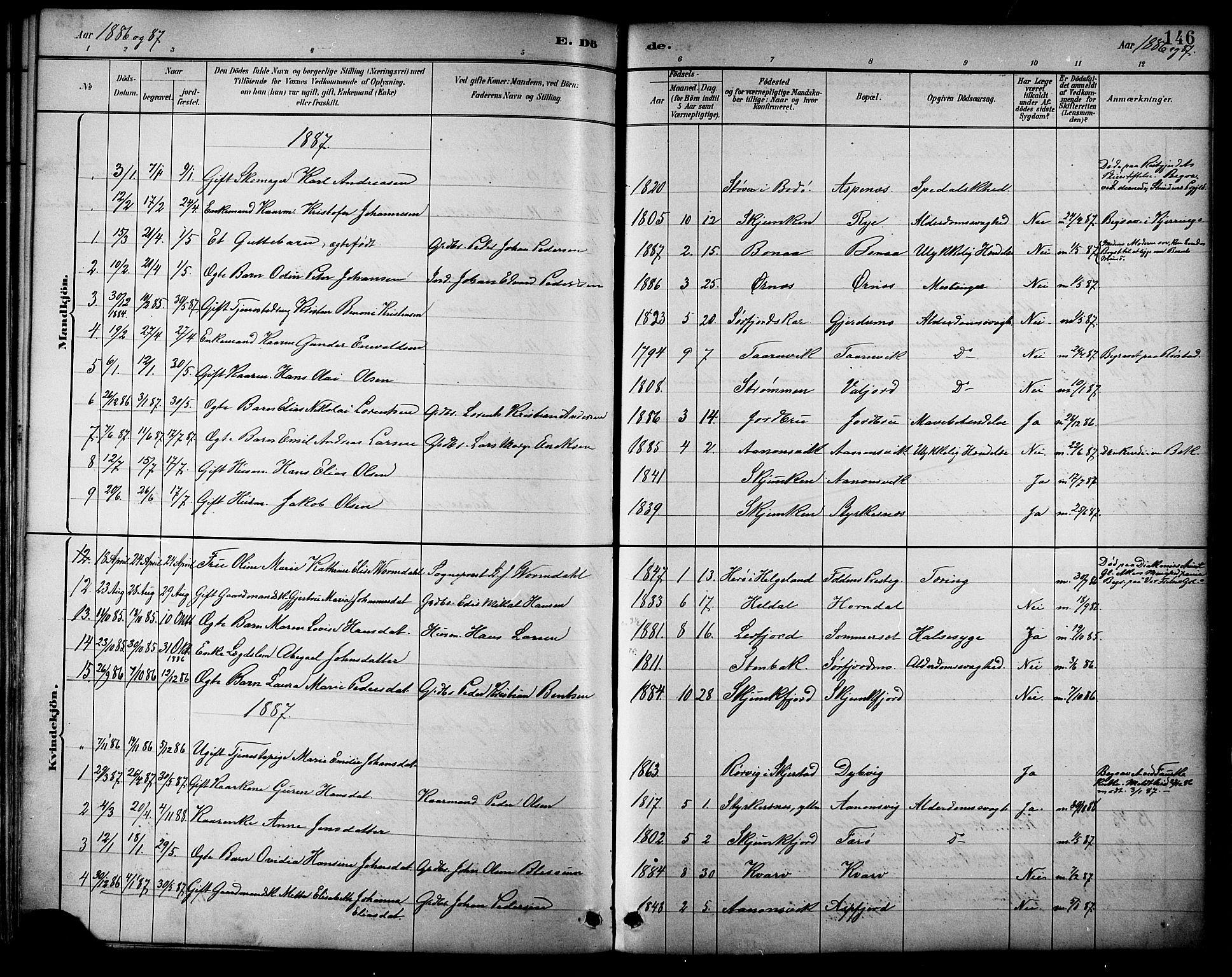 SAT, Ministerialprotokoller, klokkerbøker og fødselsregistre - Nordland, 854/L0777: Ministerialbok nr. 854A01 /1, 1883-1891, s. 146