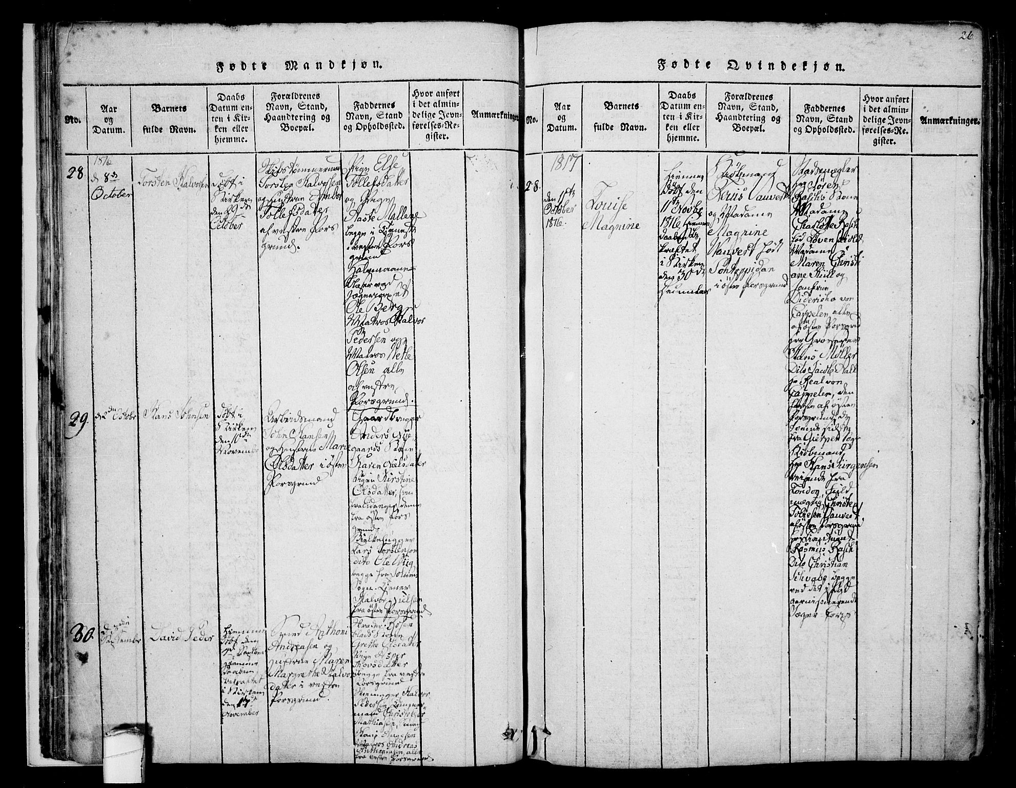 SAKO, Porsgrunn kirkebøker , F/Fa/L0004: Ministerialbok nr. 4, 1814-1828, s. 26