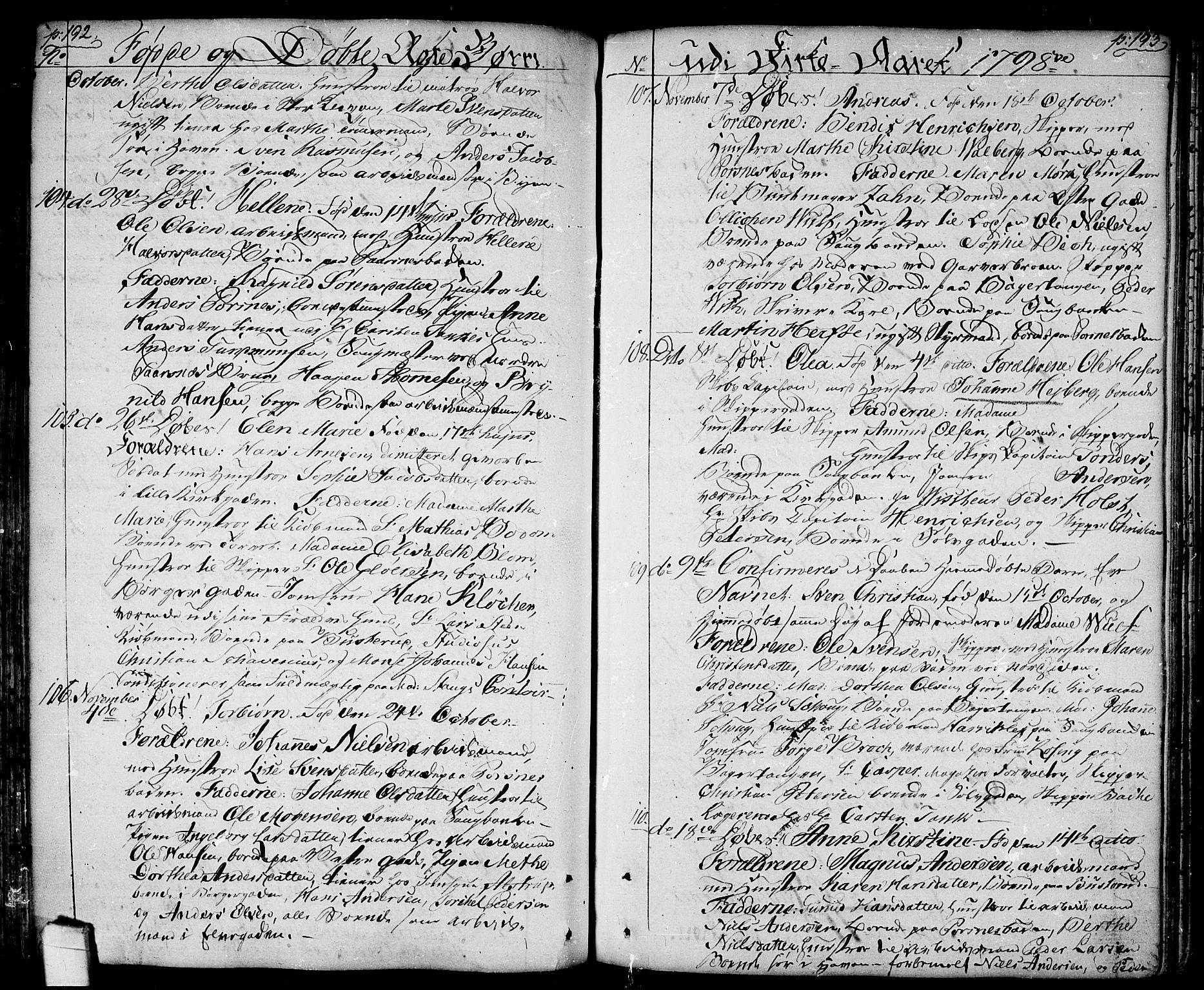 SAO, Halden prestekontor Kirkebøker, F/Fa/L0002: Ministerialbok nr. I 2, 1792-1812, s. 192-193