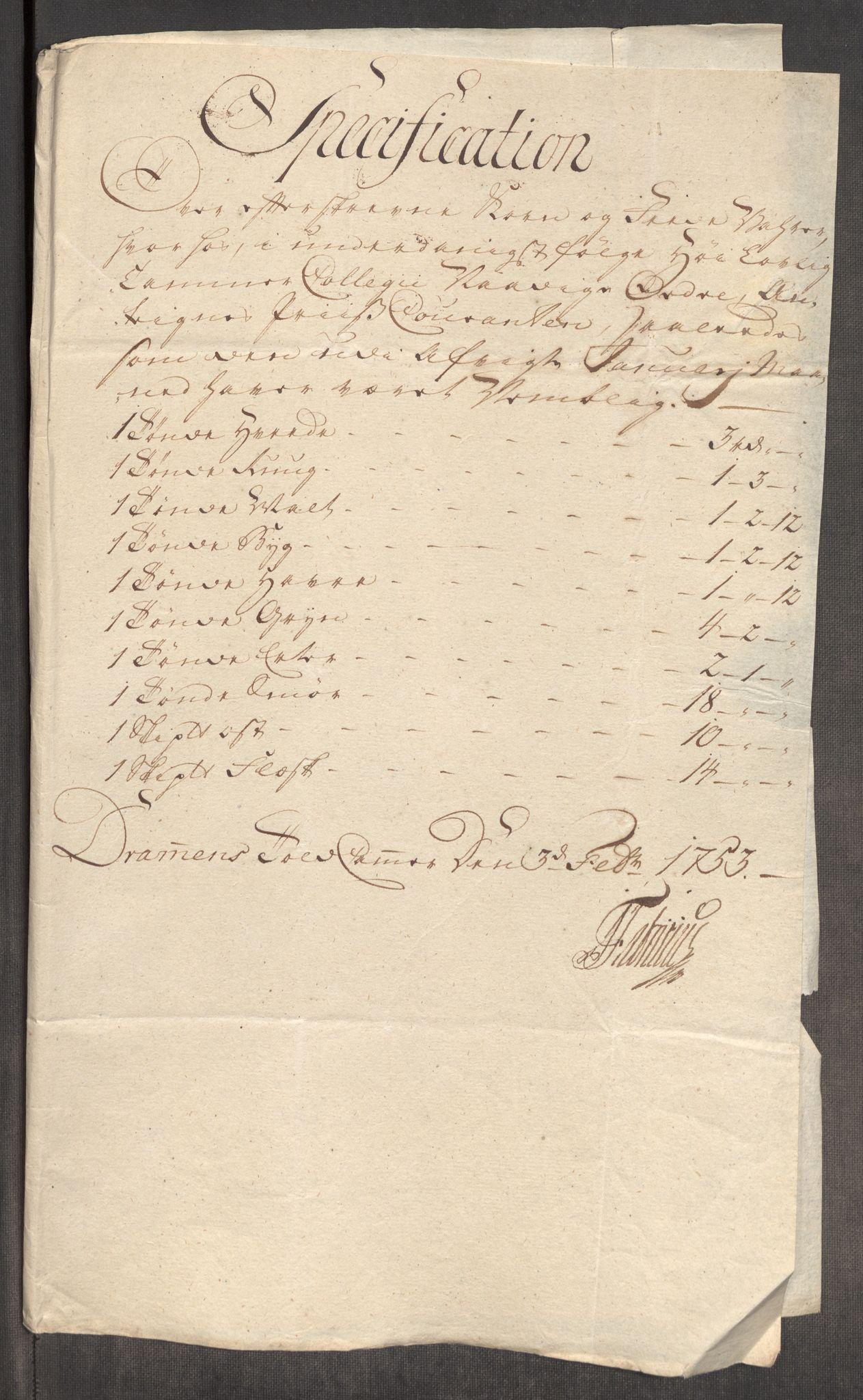 RA, Rentekammeret inntil 1814, Realistisk ordnet avdeling, Oe/L0005: [Ø1]: Priskuranter, 1753-1757, s. 46