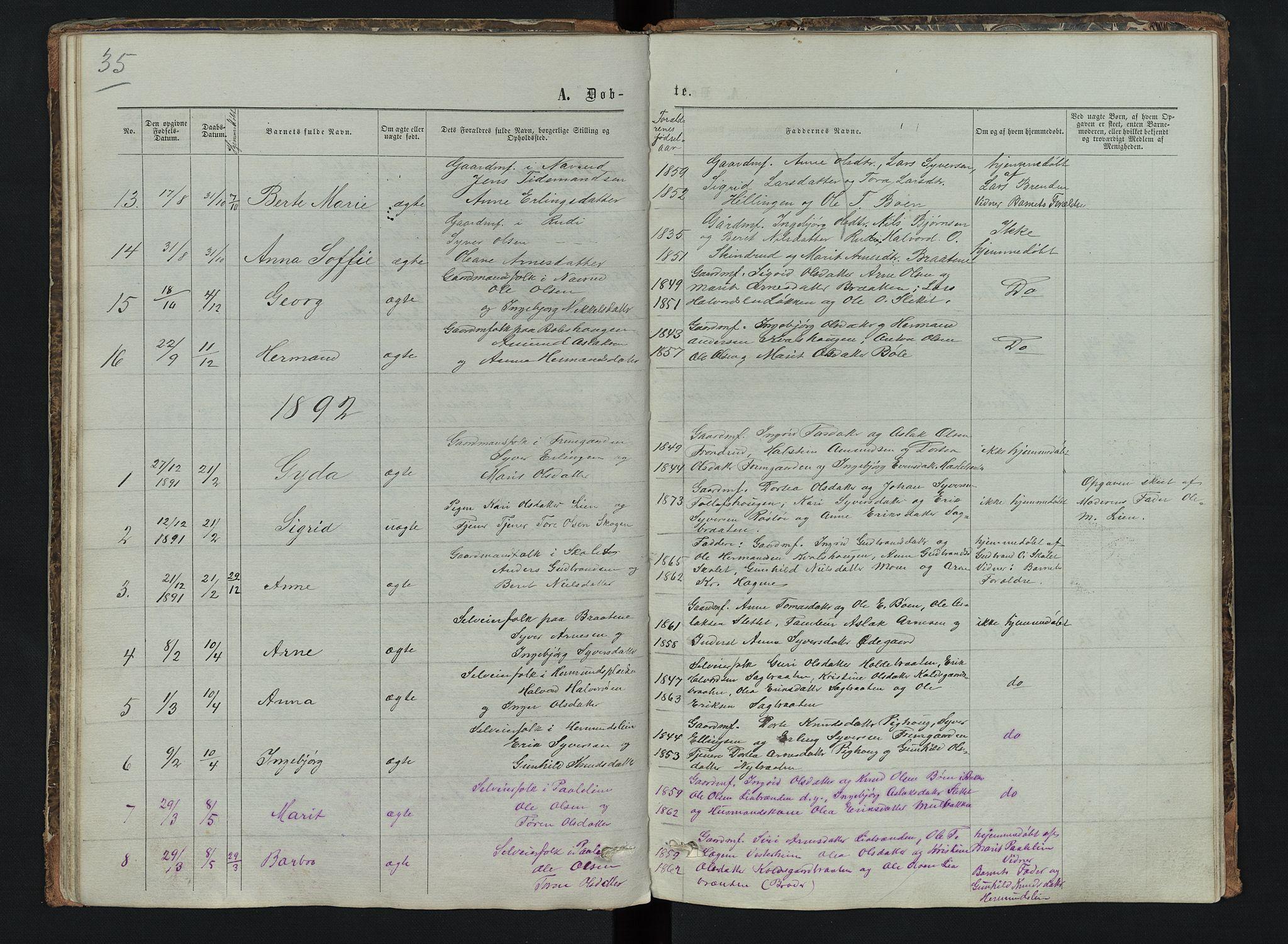 SAH, Sør-Aurdal prestekontor, Klokkerbok nr. 6, 1866-1893, s. 35
