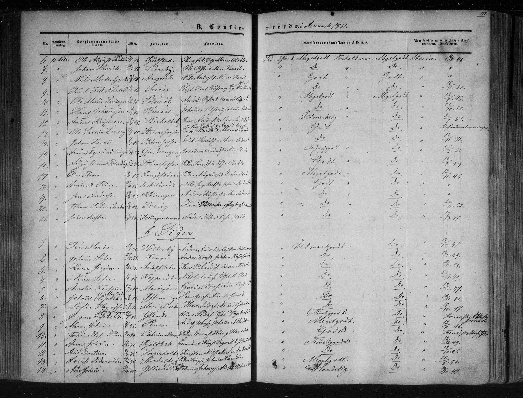 SAO, Aremark prestekontor Kirkebøker, F/Fc/L0003: Ministerialbok nr. III 3, 1850-1865, s. 171
