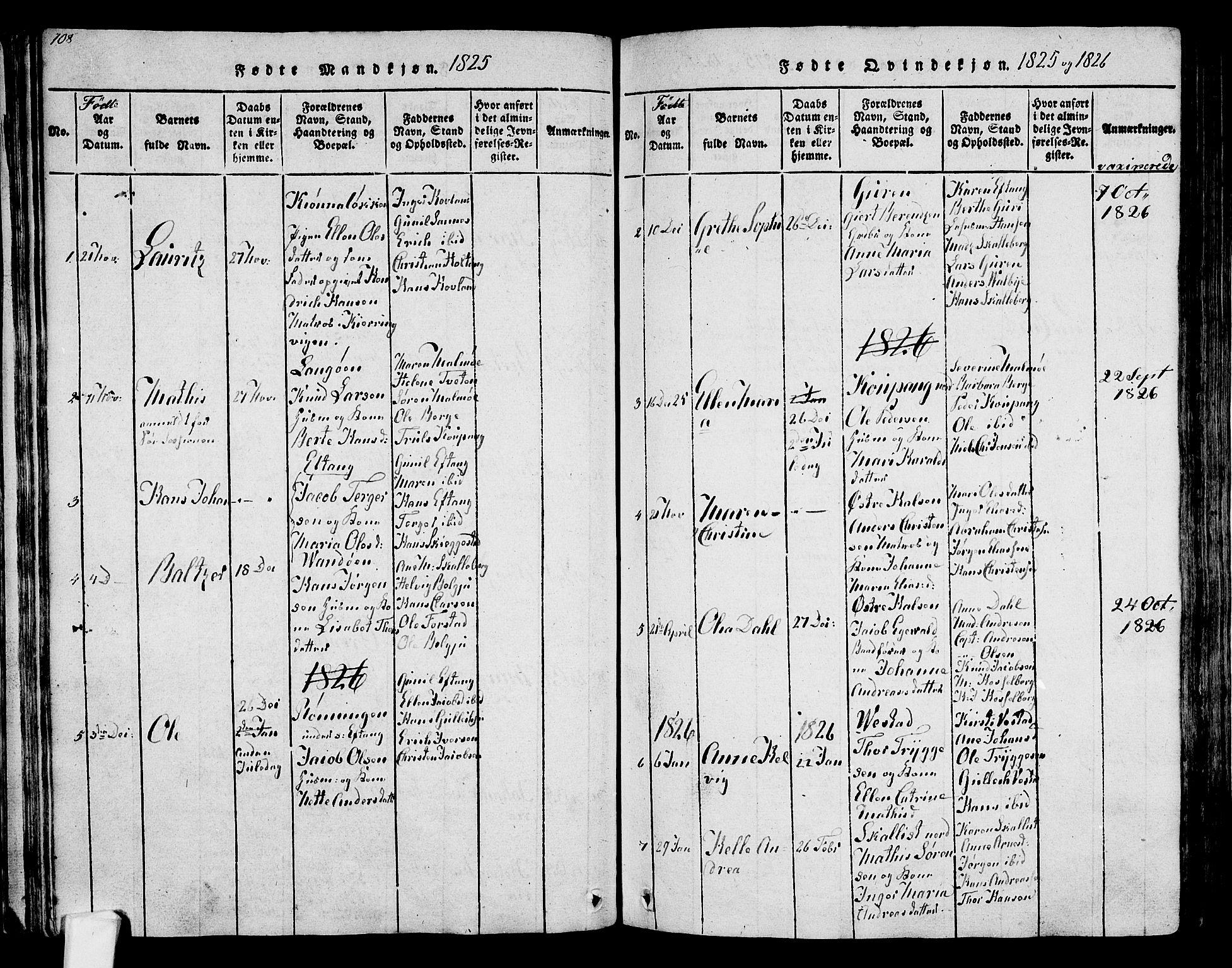 SAKO, Tjølling kirkebøker, F/Fa/L0005: Ministerialbok nr. 5, 1814-1836, s. 108-109