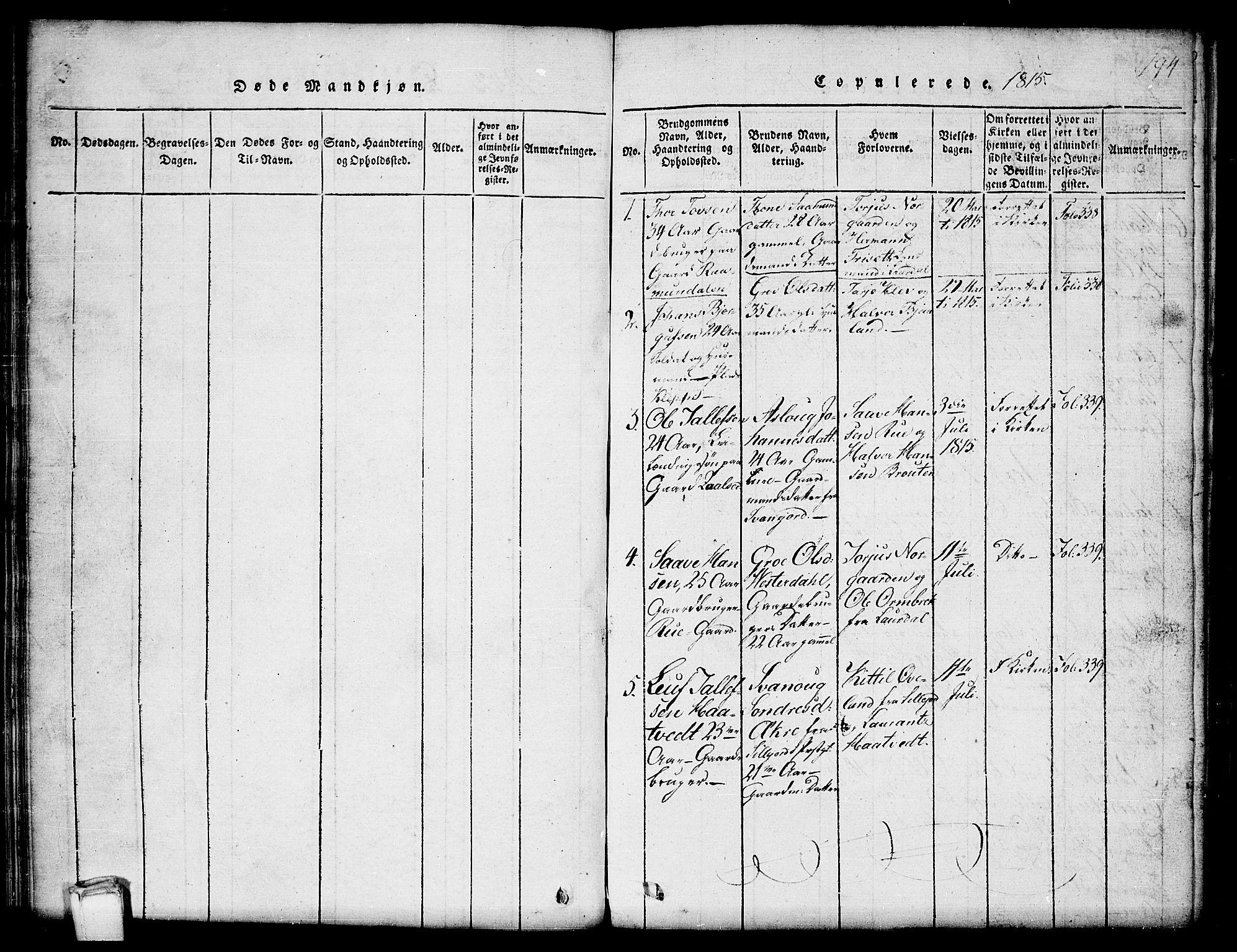 SAKO, Kviteseid kirkebøker, G/Gb/L0001: Klokkerbok nr. II 1, 1815-1842, s. 194
