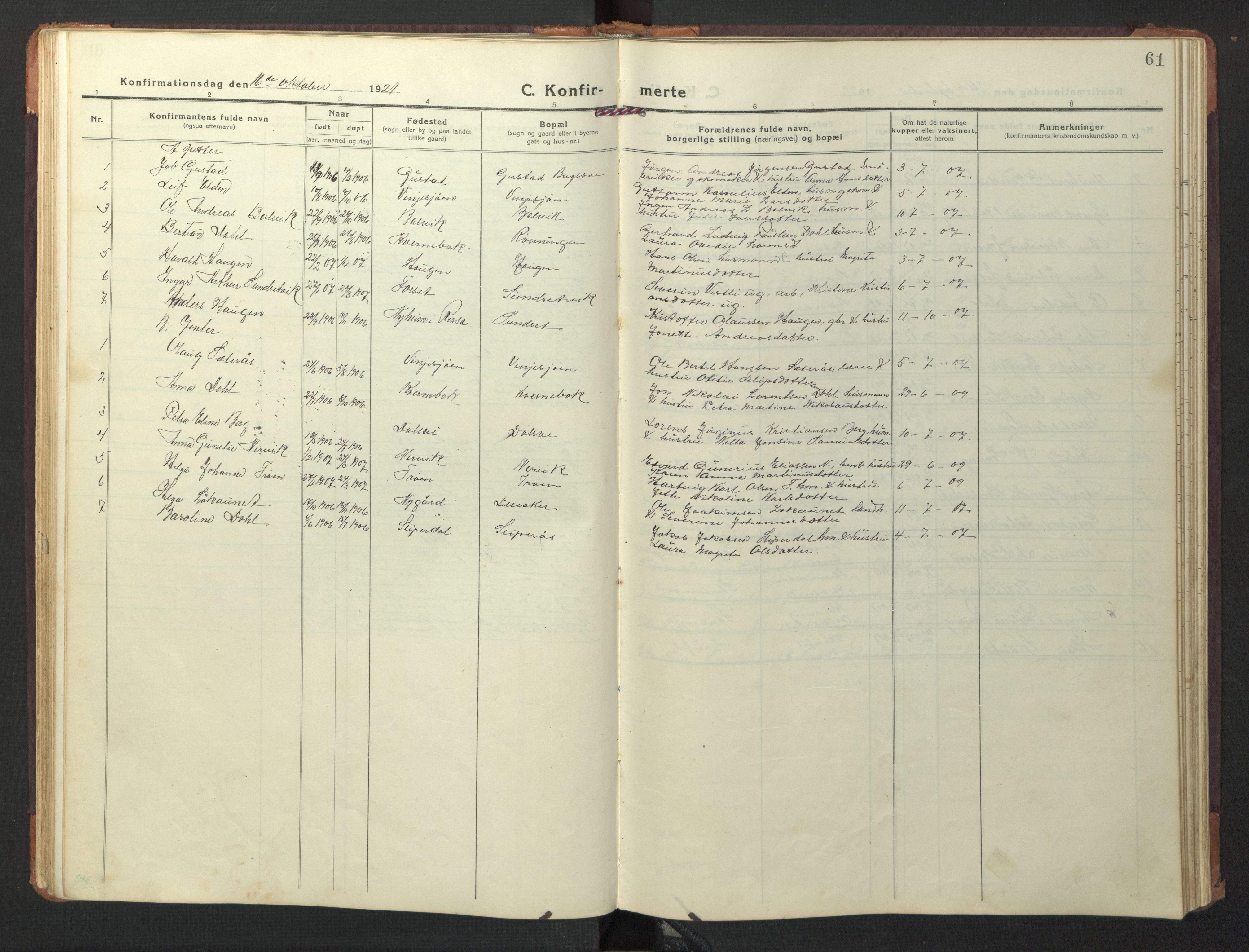 SAT, Ministerialprotokoller, klokkerbøker og fødselsregistre - Nord-Trøndelag, 733/L0328: Klokkerbok nr. 733C03, 1919-1966, s. 61