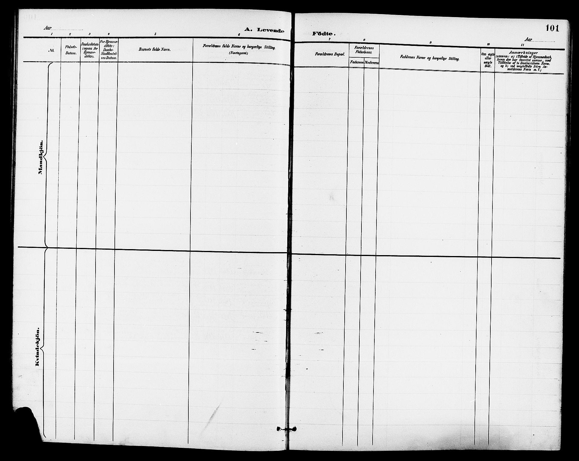 SAKO, Eidanger kirkebøker, G/Ga/L0003: Klokkerbok nr. 3, 1893-1911, s. 101