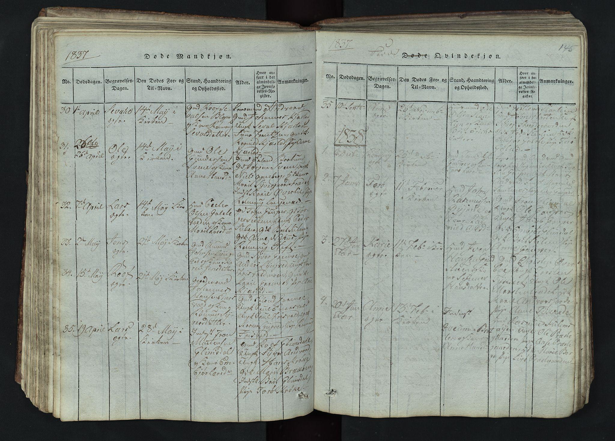 SAH, Lom prestekontor, L/L0002: Klokkerbok nr. 2, 1815-1844, s. 145