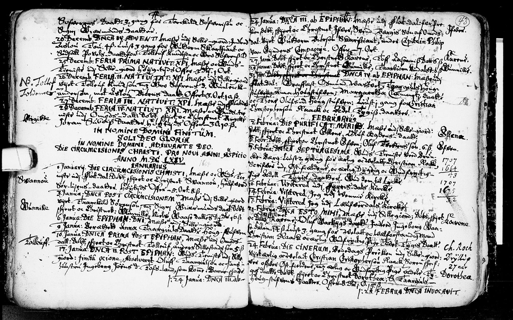 SAKO, Seljord kirkebøker, F/Fa/L0001: Ministerialbok nr. I 1, 1654-1686, s. 43