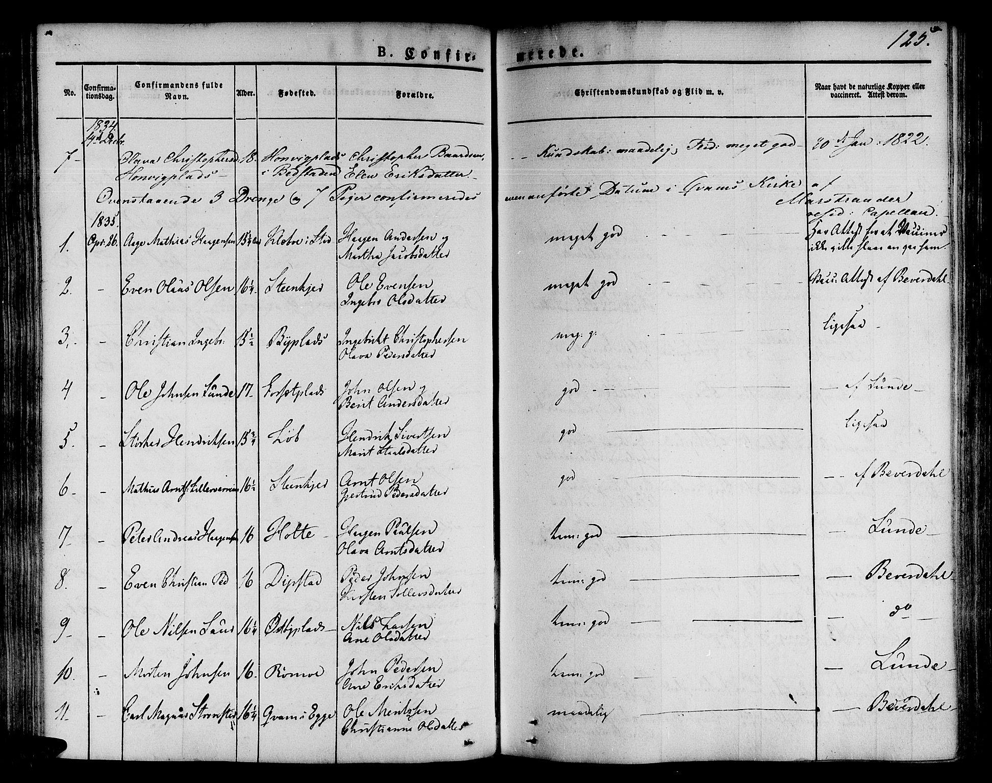 SAT, Ministerialprotokoller, klokkerbøker og fødselsregistre - Nord-Trøndelag, 746/L0445: Ministerialbok nr. 746A04, 1826-1846, s. 125