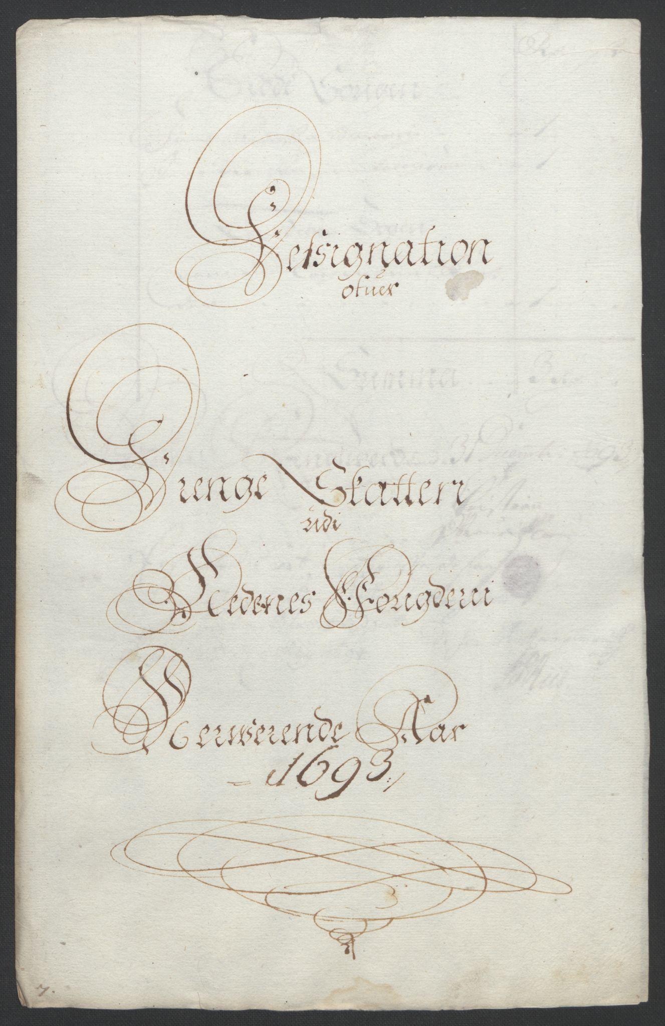 RA, Rentekammeret inntil 1814, Reviderte regnskaper, Fogderegnskap, R39/L2312: Fogderegnskap Nedenes, 1693-1695, s. 38