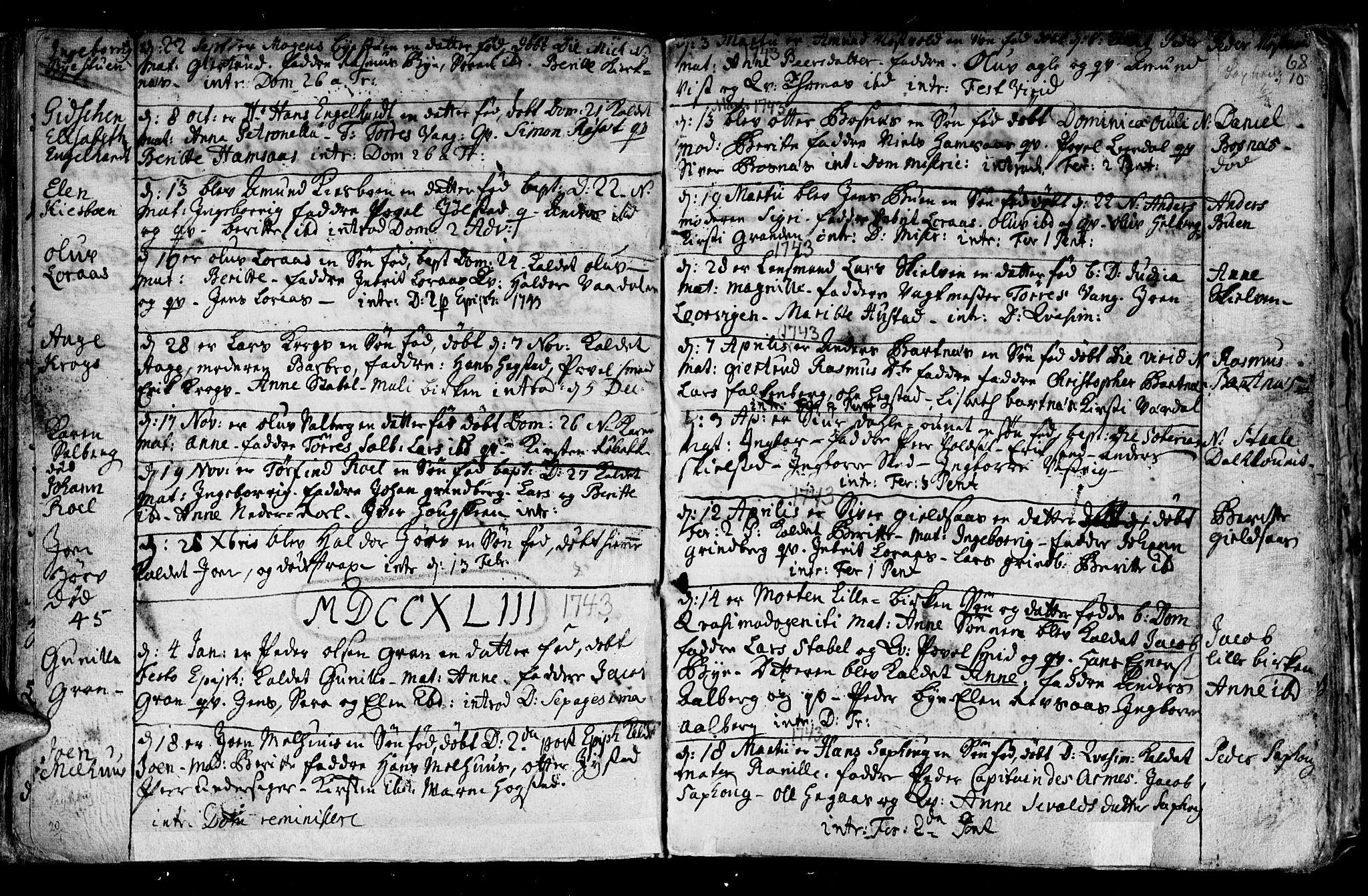 SAT, Ministerialprotokoller, klokkerbøker og fødselsregistre - Nord-Trøndelag, 730/L0272: Ministerialbok nr. 730A01, 1733-1764, s. 68