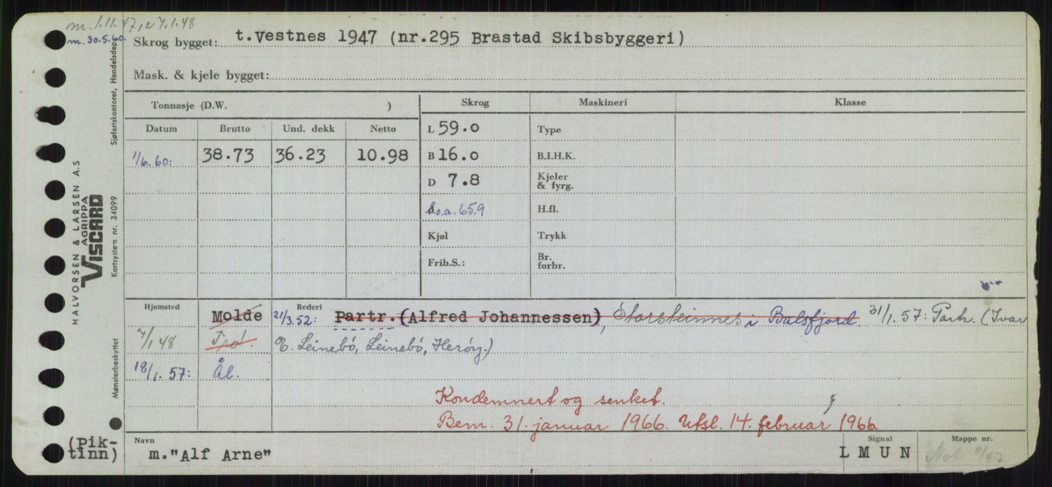 RA, Sjøfartsdirektoratet med forløpere, Skipsmålingen, H/Hd/L0001: Fartøy, A-Anv, s. 309