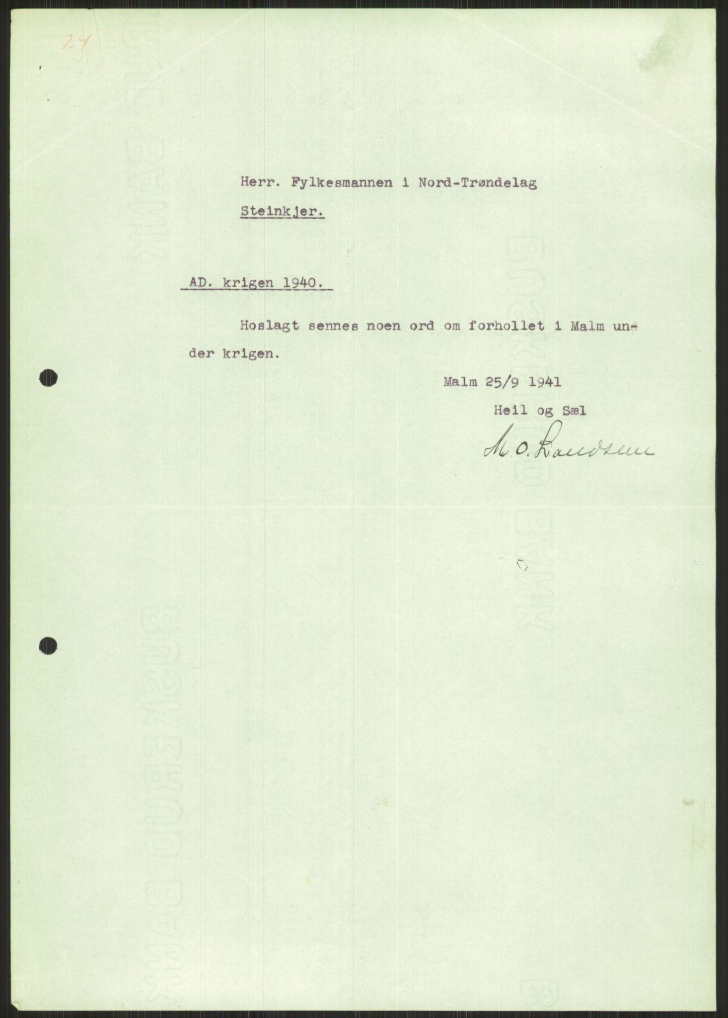 RA, Forsvaret, Forsvarets krigshistoriske avdeling, Y/Ya/L0016: II-C-11-31 - Fylkesmenn.  Rapporter om krigsbegivenhetene 1940., 1940, s. 502