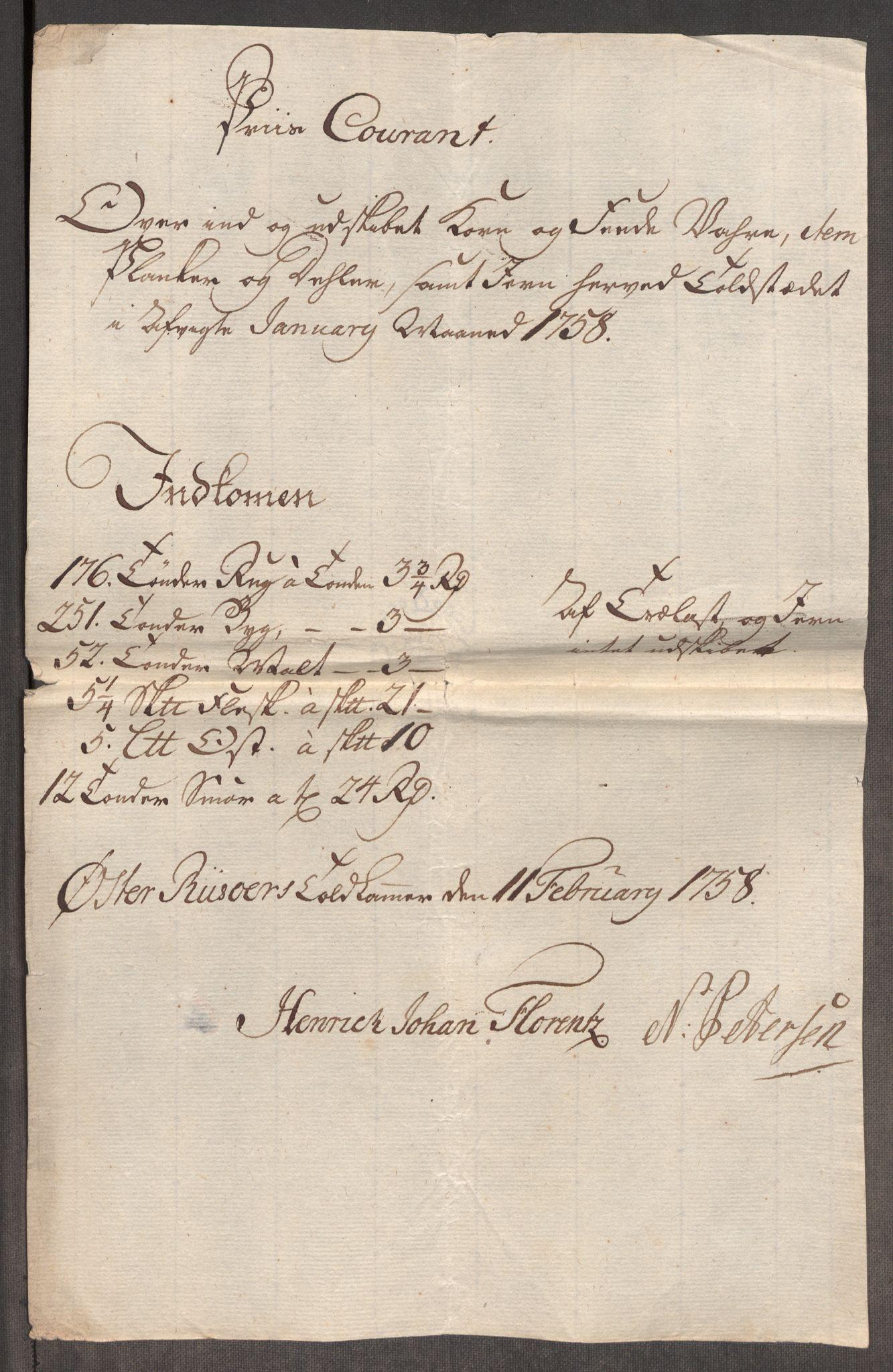 RA, Rentekammeret inntil 1814, Realistisk ordnet avdeling, Oe/L0006: [Ø1]: Priskuranter, 1758-1760, s. 238