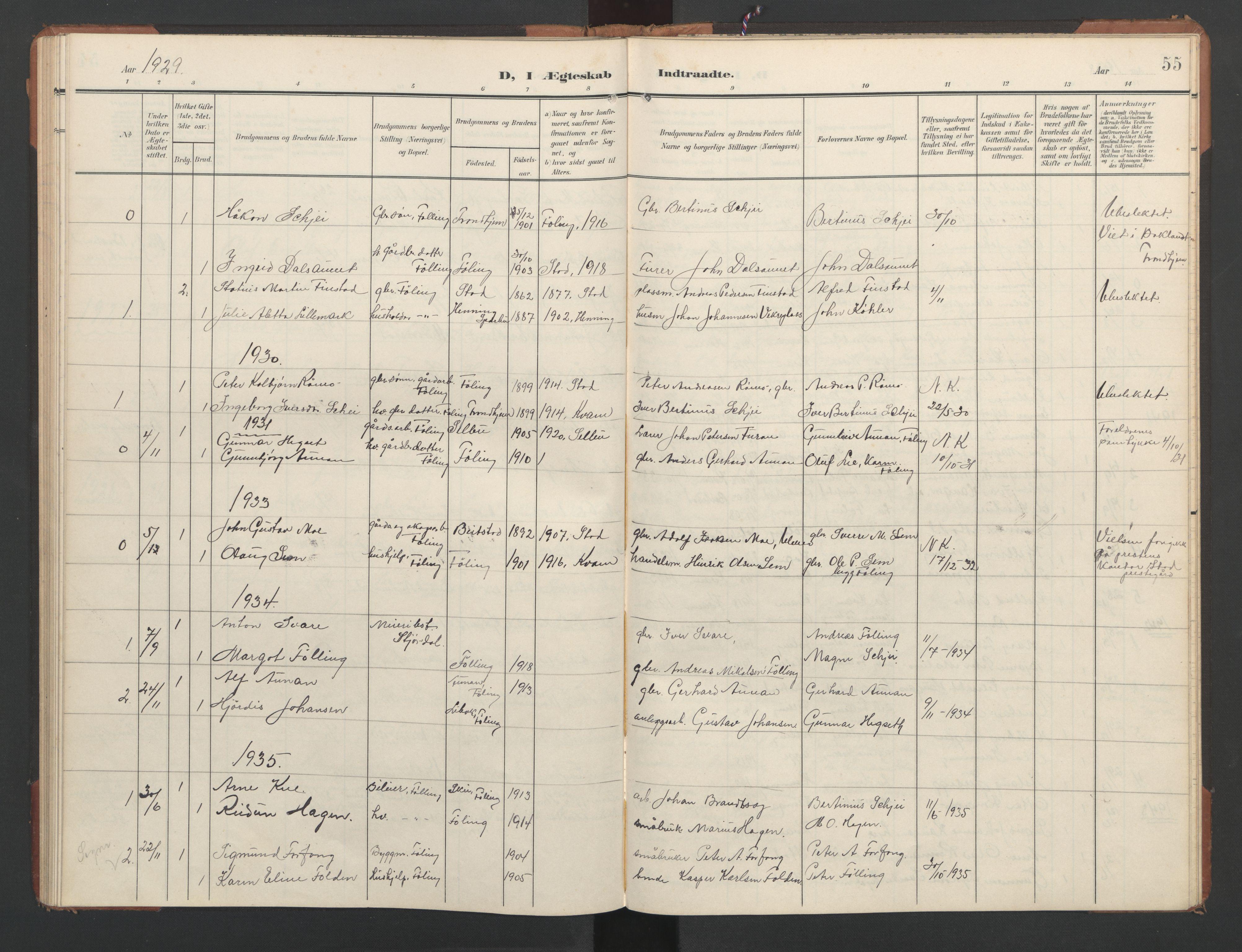 SAT, Ministerialprotokoller, klokkerbøker og fødselsregistre - Nord-Trøndelag, 748/L0465: Klokkerbok nr. 748C01, 1908-1960, s. 55
