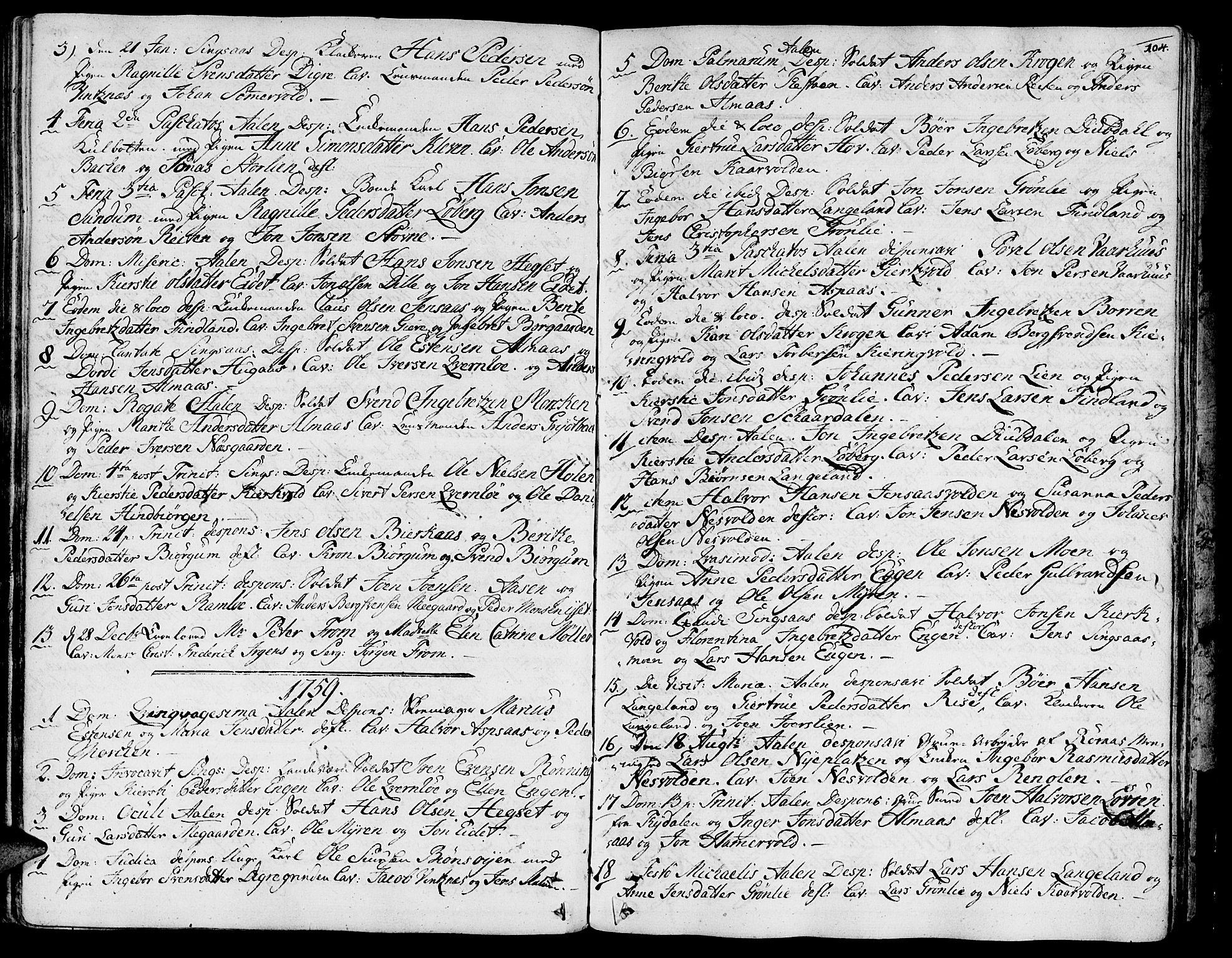 SAT, Ministerialprotokoller, klokkerbøker og fødselsregistre - Sør-Trøndelag, 685/L0952: Ministerialbok nr. 685A01, 1745-1804, s. 104