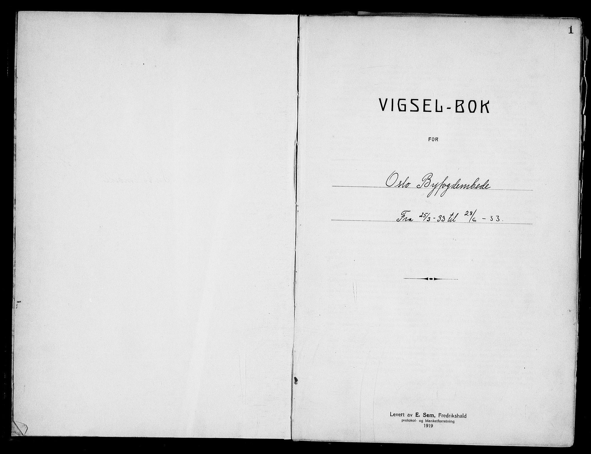 SAO, Oslo byfogd avd. I, L/Lb/Lbb/L0023: Notarialprotokoll, rekke II: Vigsler, 1933-1934, s. 1a