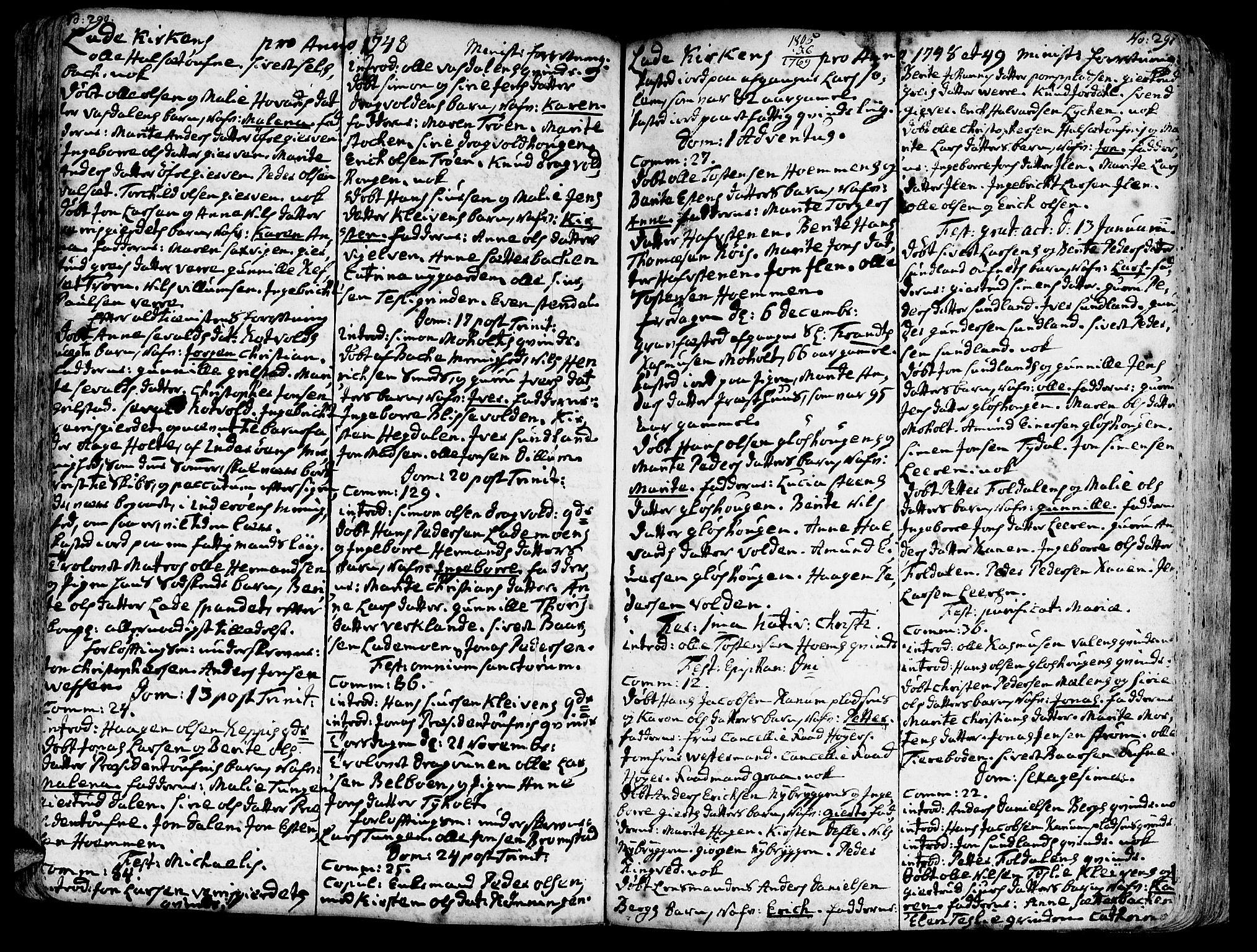 SAT, Ministerialprotokoller, klokkerbøker og fødselsregistre - Sør-Trøndelag, 606/L0275: Ministerialbok nr. 606A01 /1, 1727-1780, s. 290-291