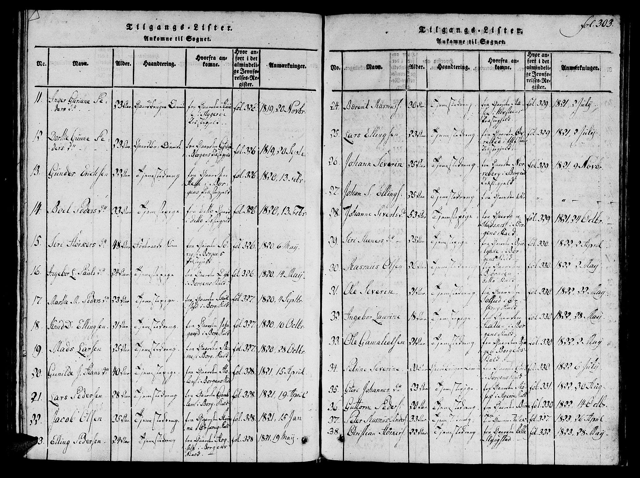 SAT, Ministerialprotokoller, klokkerbøker og fødselsregistre - Møre og Romsdal, 536/L0495: Ministerialbok nr. 536A04, 1818-1847, s. 303