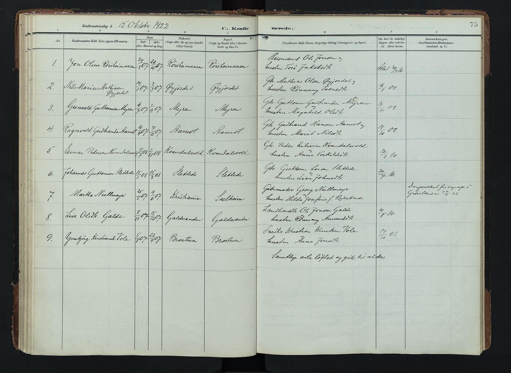 SAH, Lom prestekontor, K/L0012: Ministerialbok nr. 12, 1904-1928, s. 75
